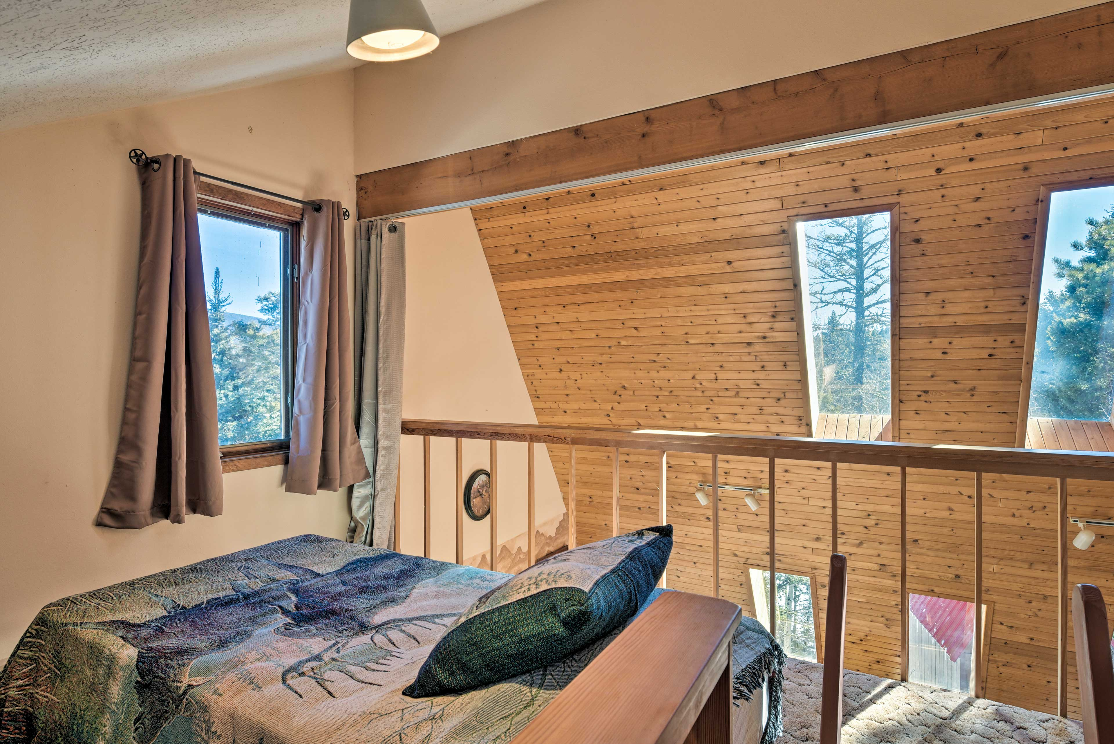 The loft includes a flat-screen cable TV and mountain-view windows!
