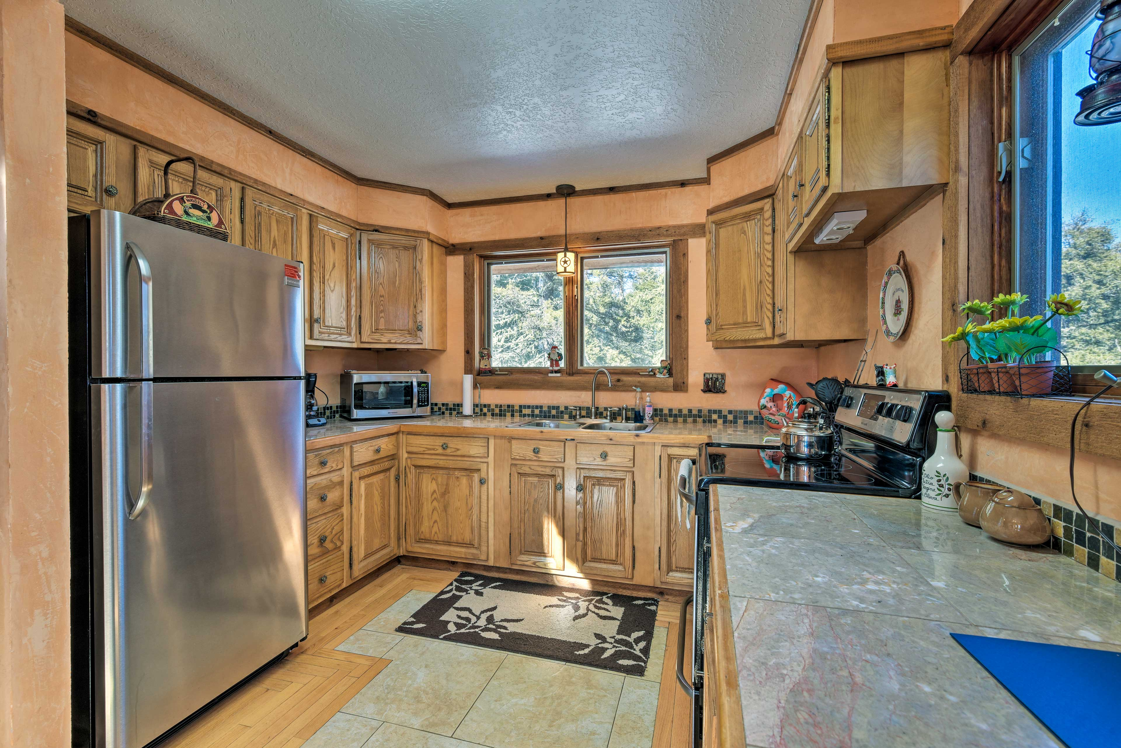 The well-equipped kitchen is stocked with all the appliances you'll need.