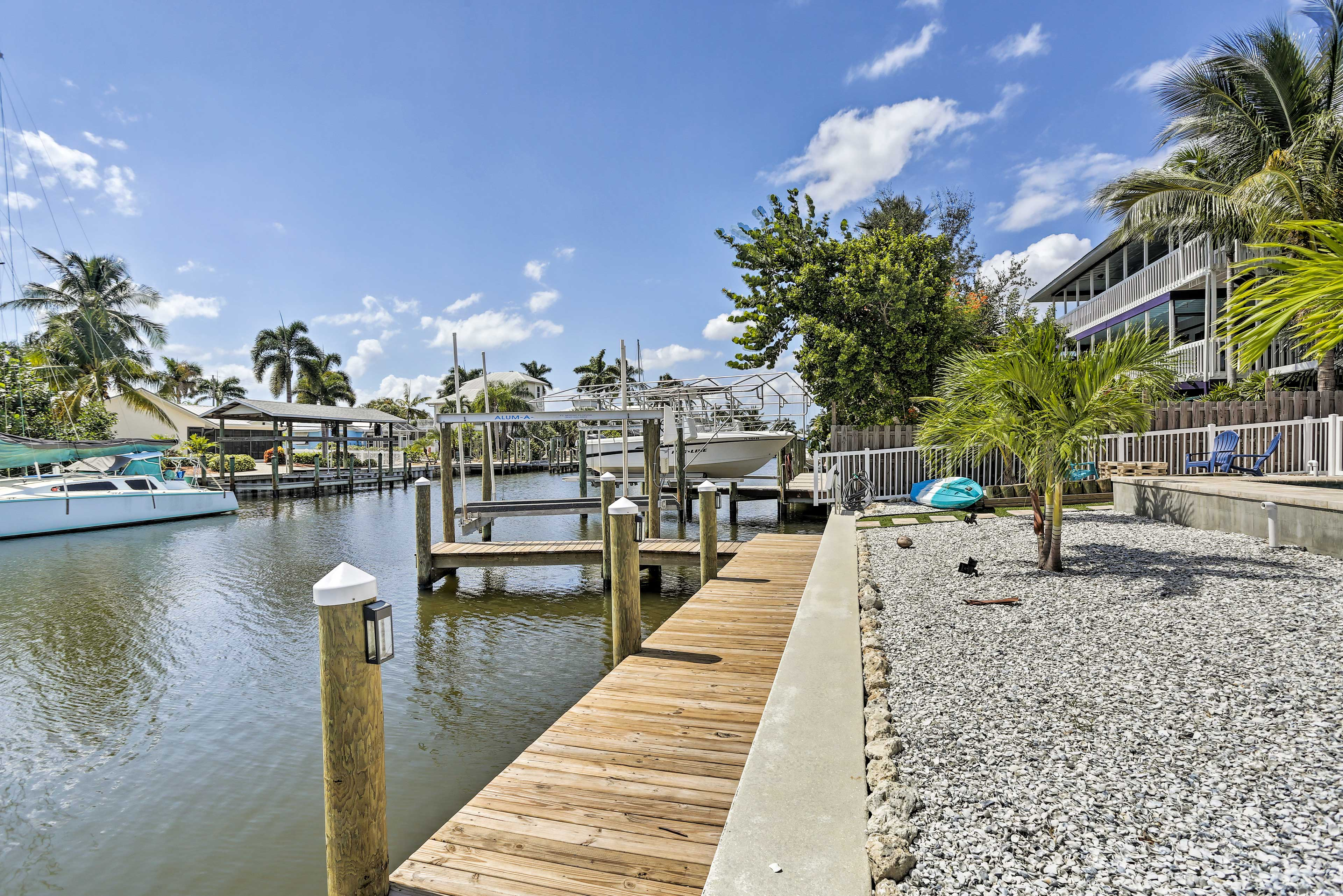 This waterfront home is near multiple marinas and fishing charters!