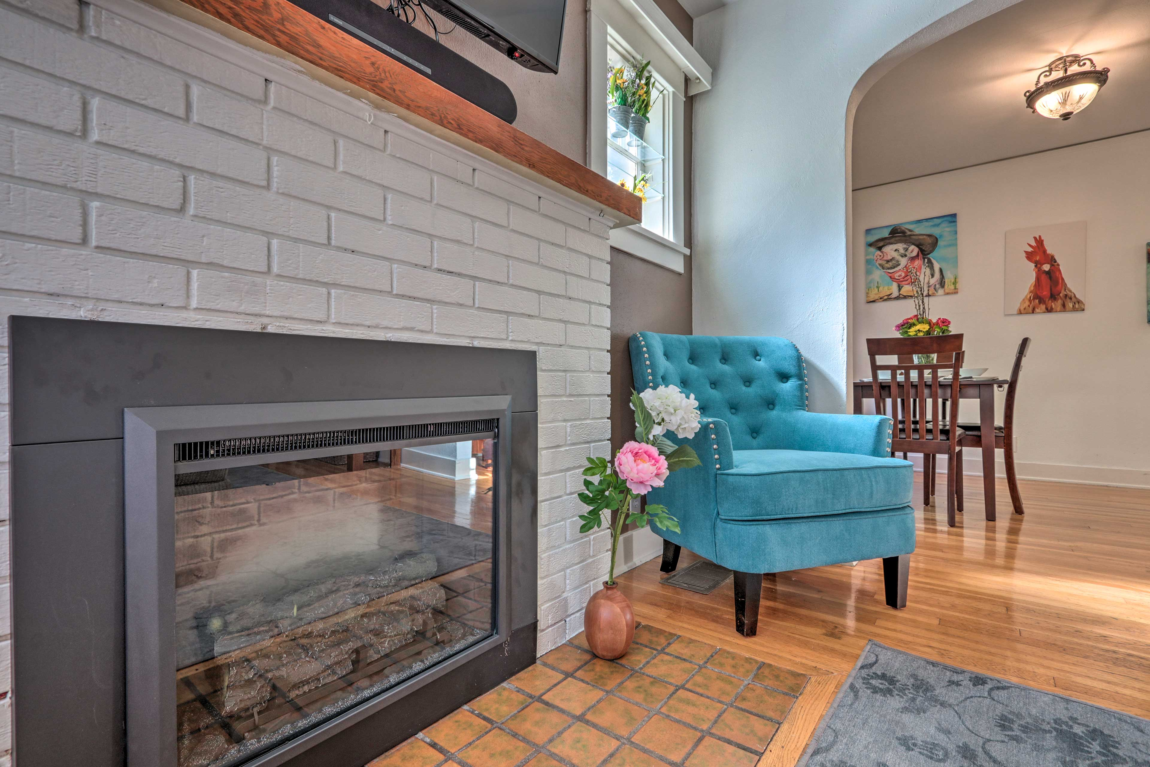 Warm up on chilly winter days with the gas fireplace.