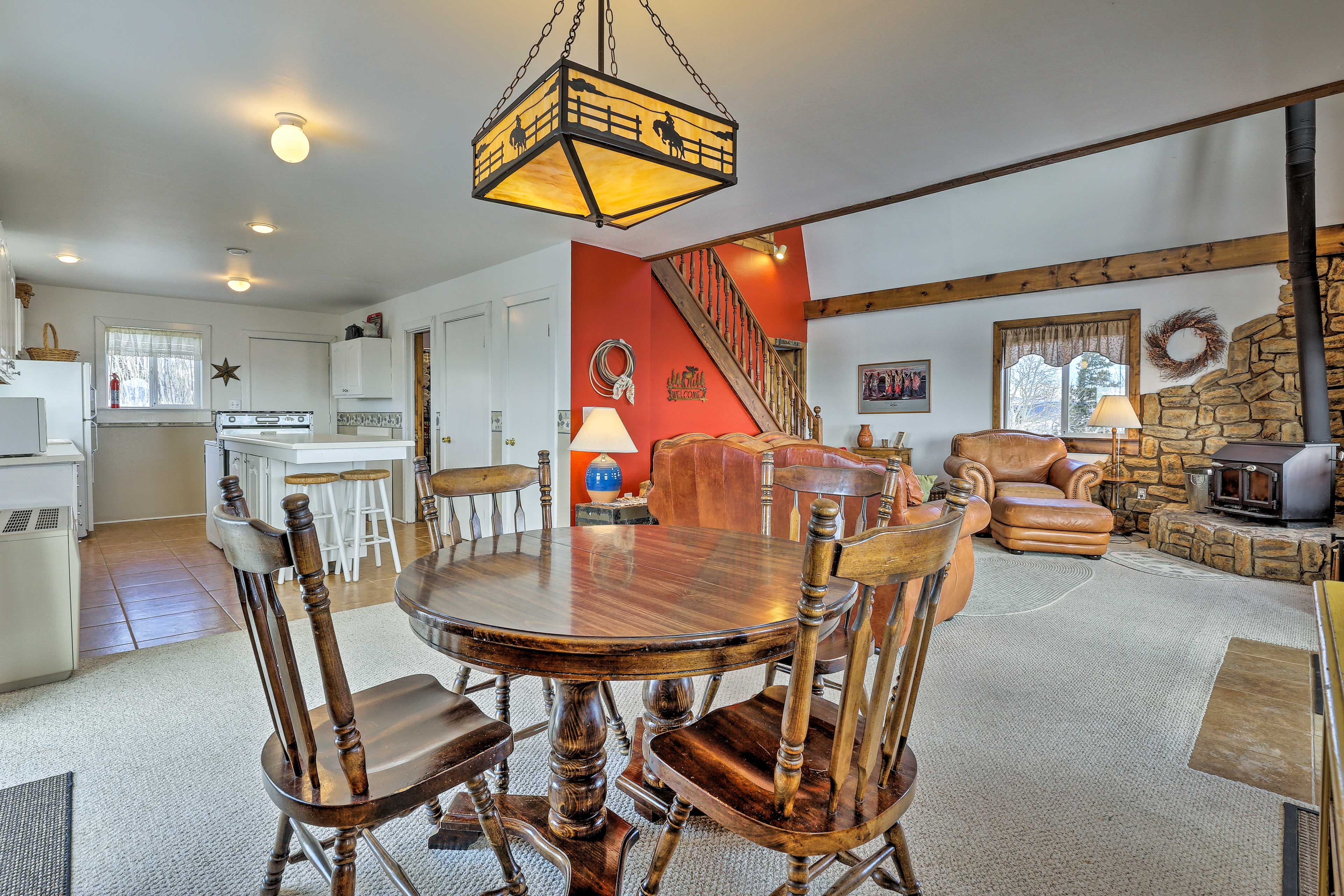 Gather around the dining table with room for 4.