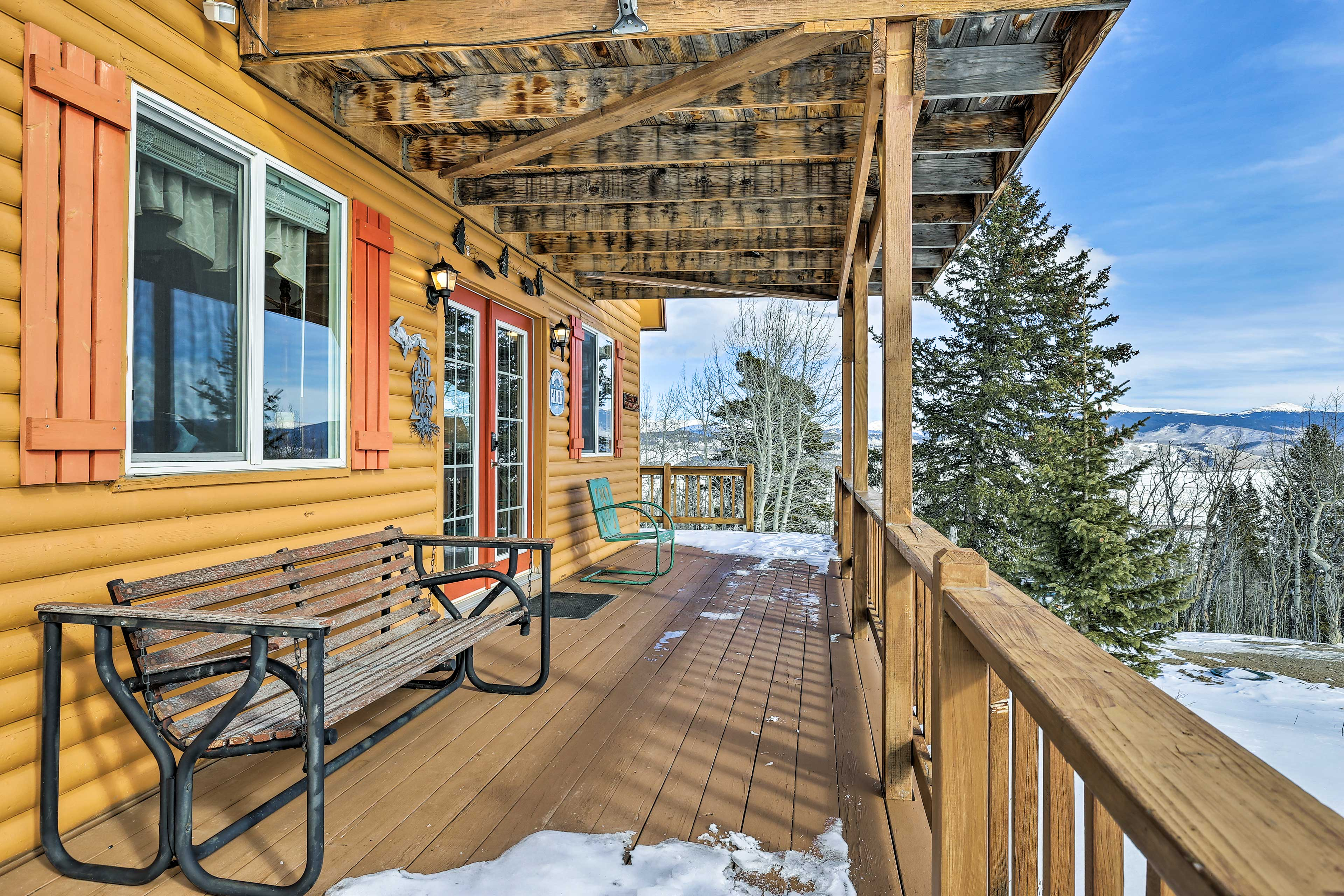 Enjoy a steaming cup of coffee on the furnished deck.