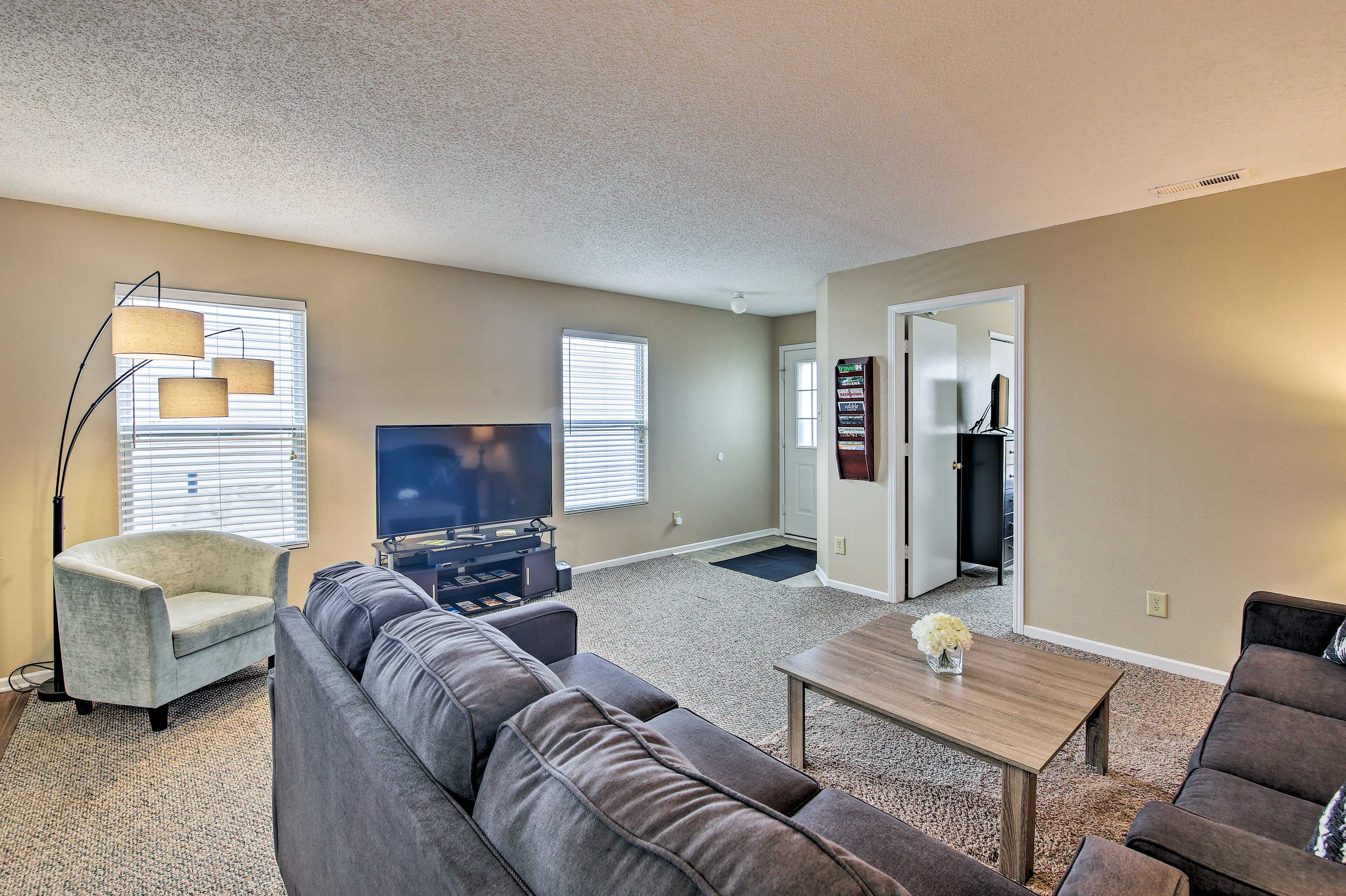 Watch a movie on the flat-screen TV in the living area.