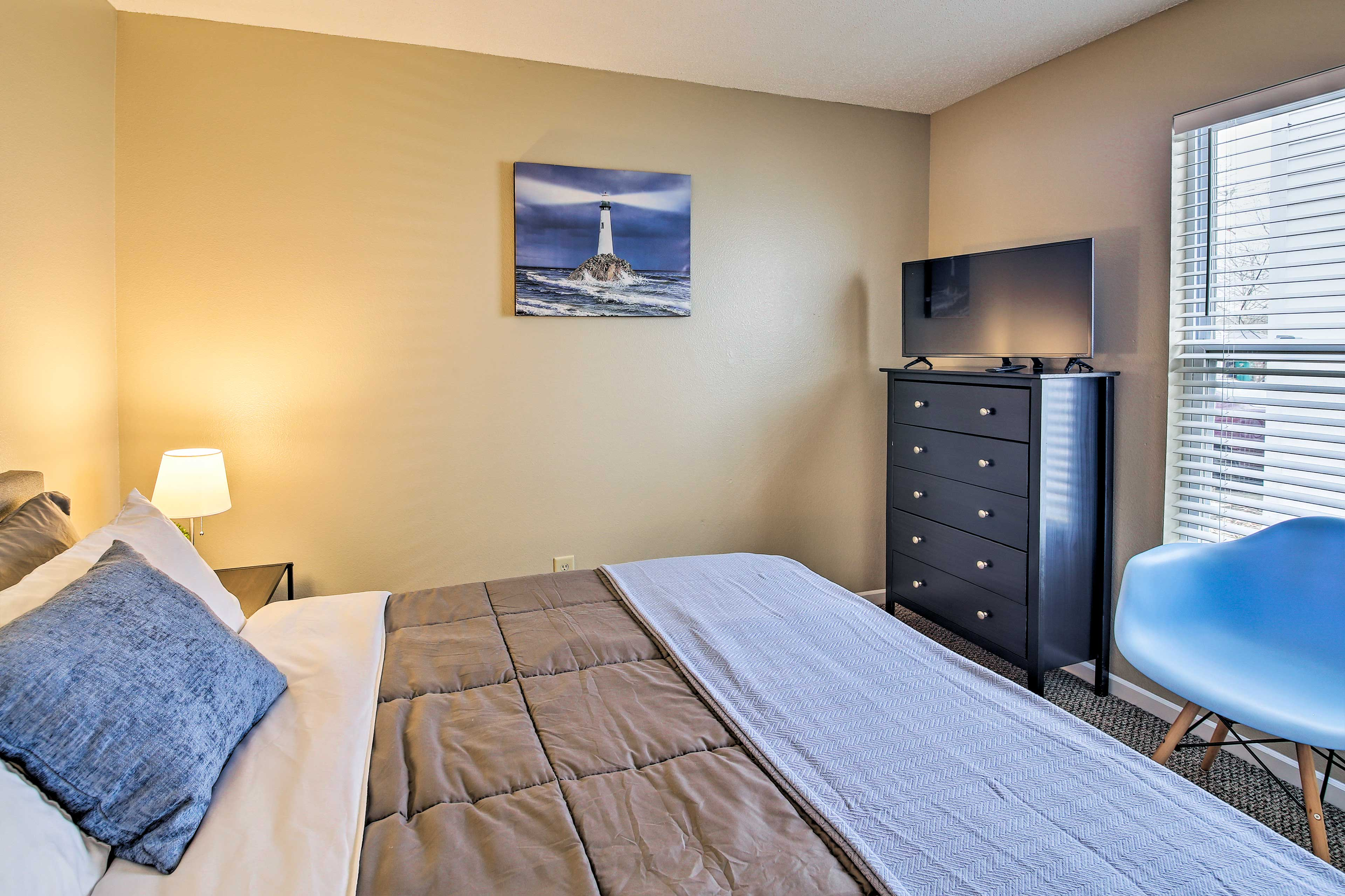 This room also features a flat-screen TV.