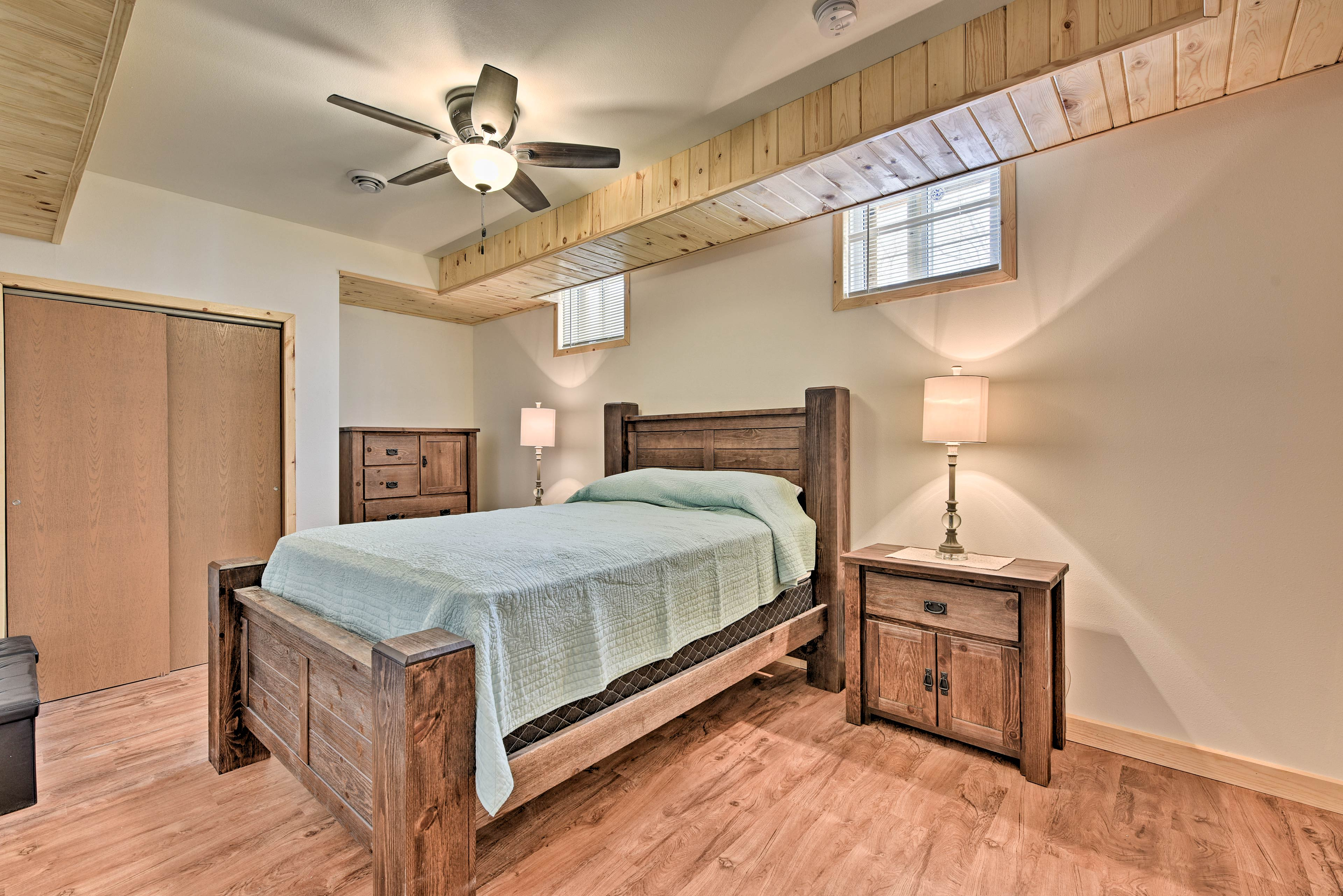 Wood accents add a cozy feel to the room.