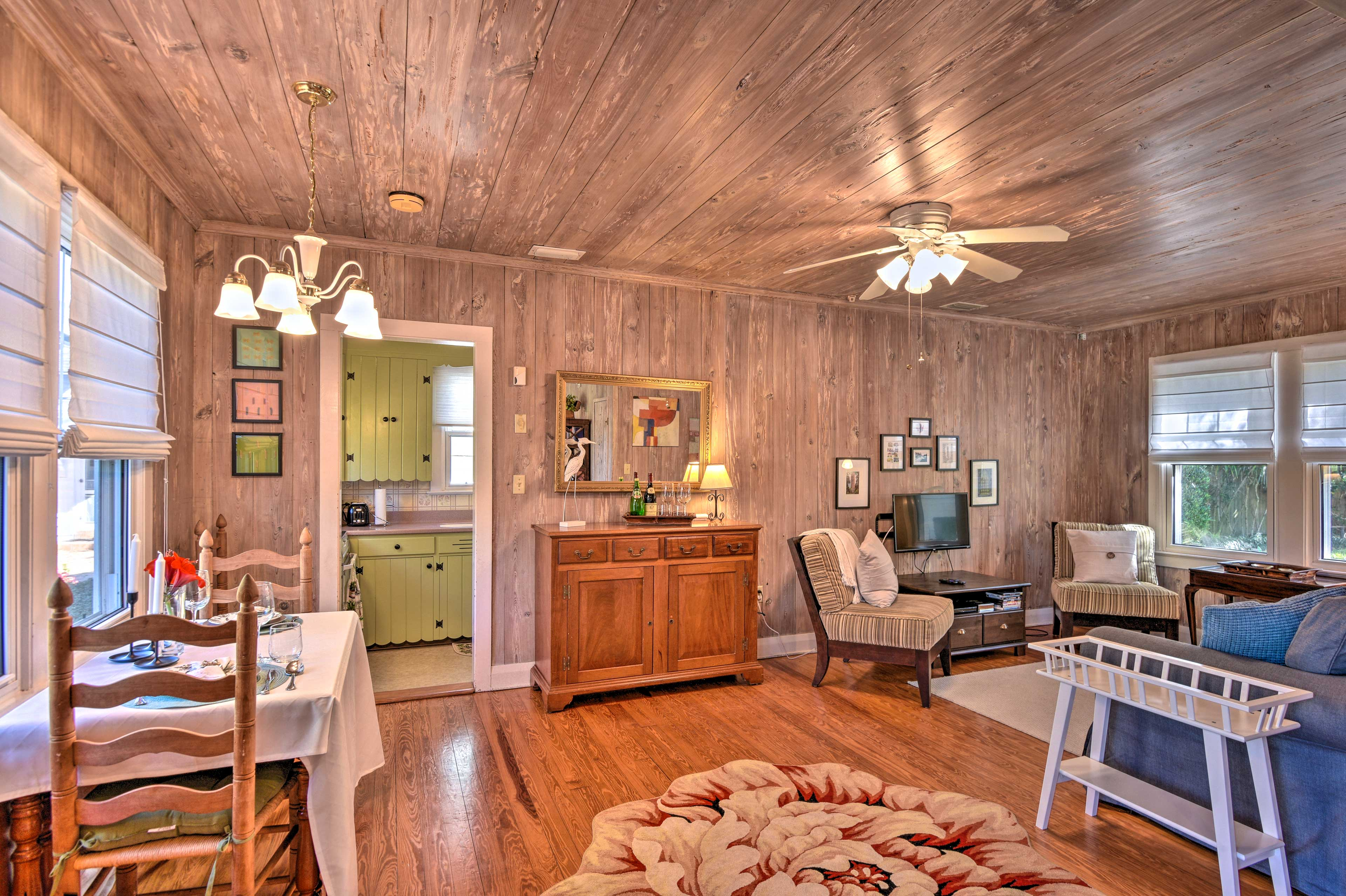The 1,000-square-foot interior is full of comfort and charm.
