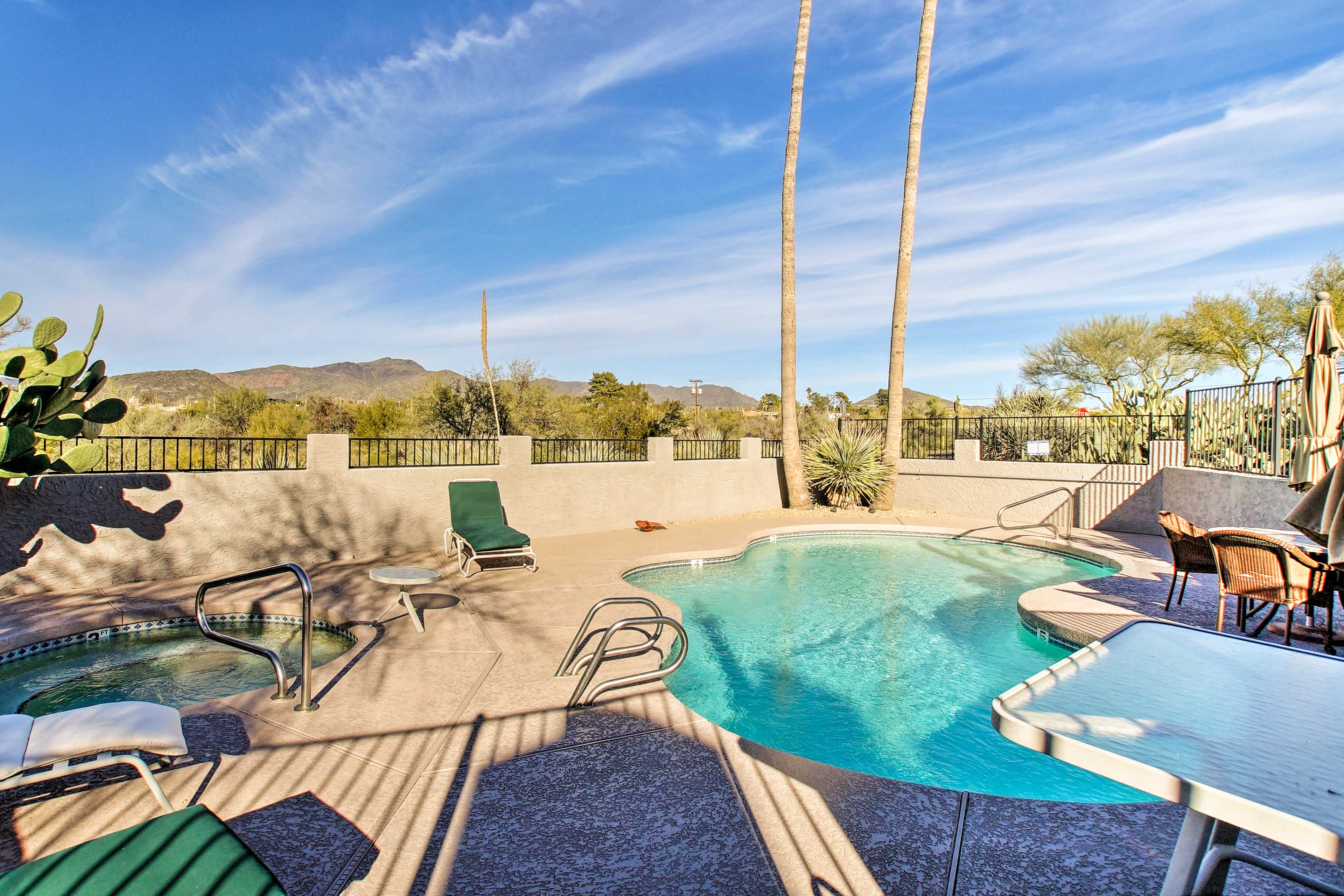 The community pool and hot tub are a short walk away.