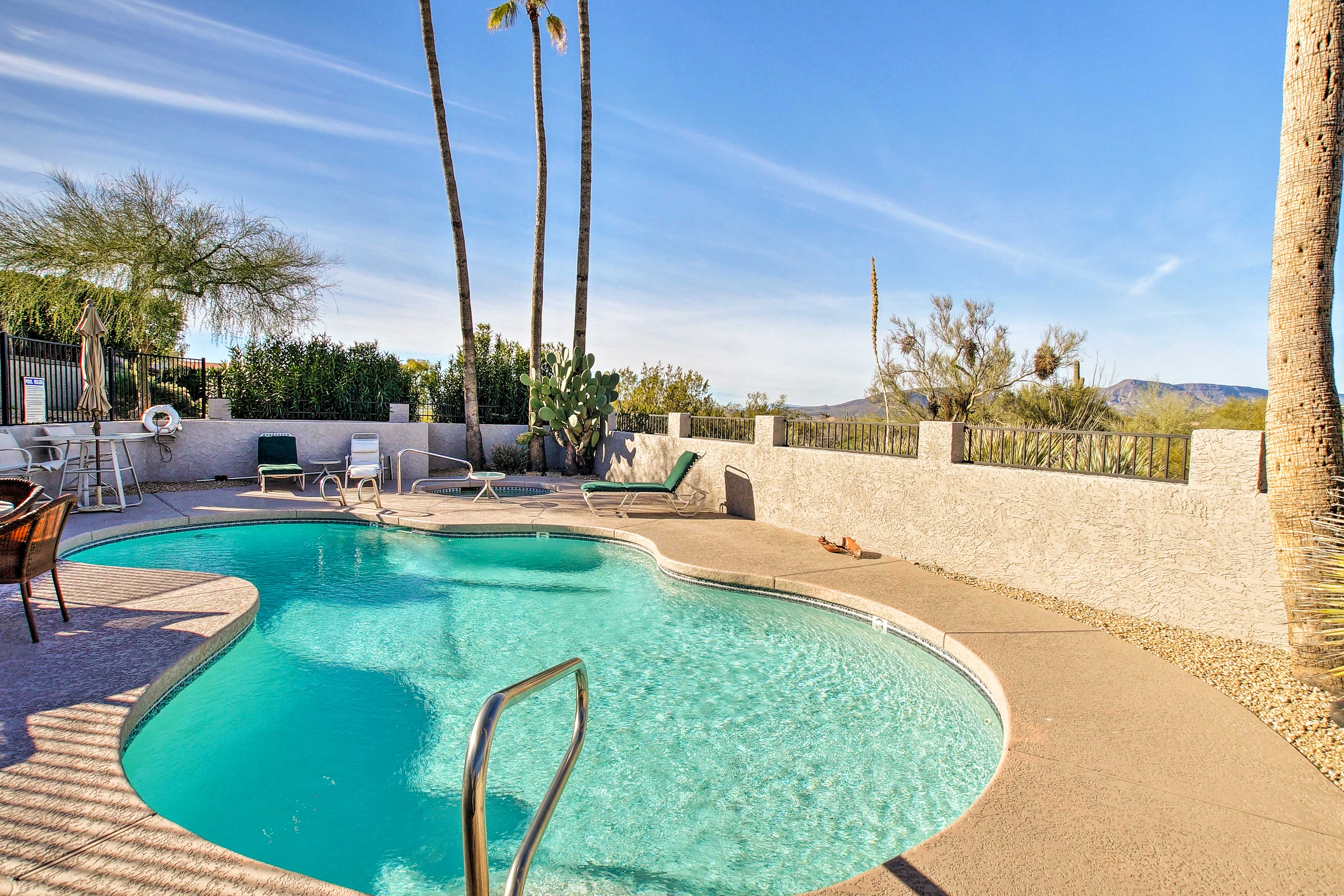 You'll have Bask in the pool or in a chaise lounge surrounded by mountain views.