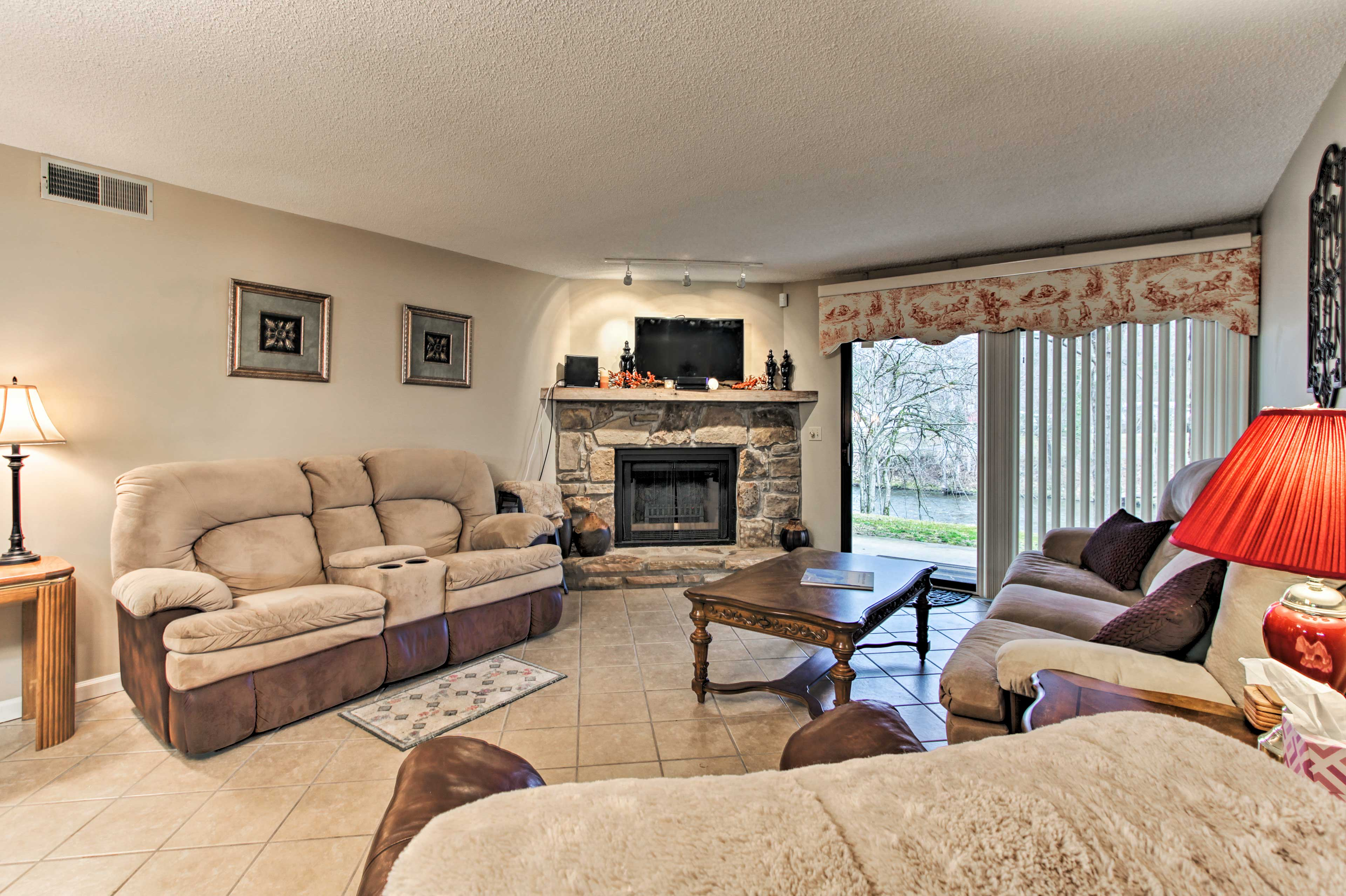 Unwind in on the sofas in the living room after a day of traveling.