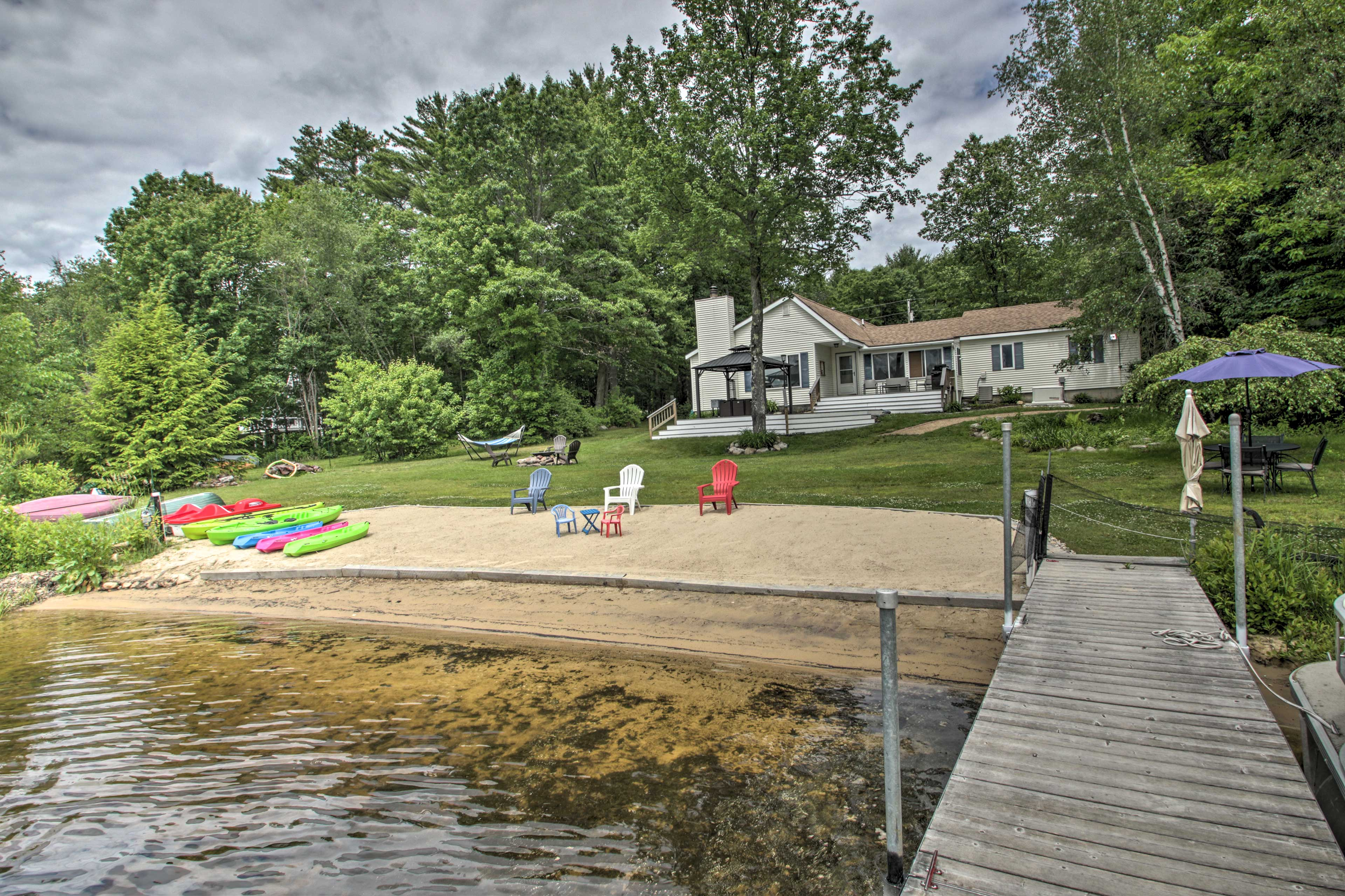 Lounge on the beach or take a boat out and launch from the dock!