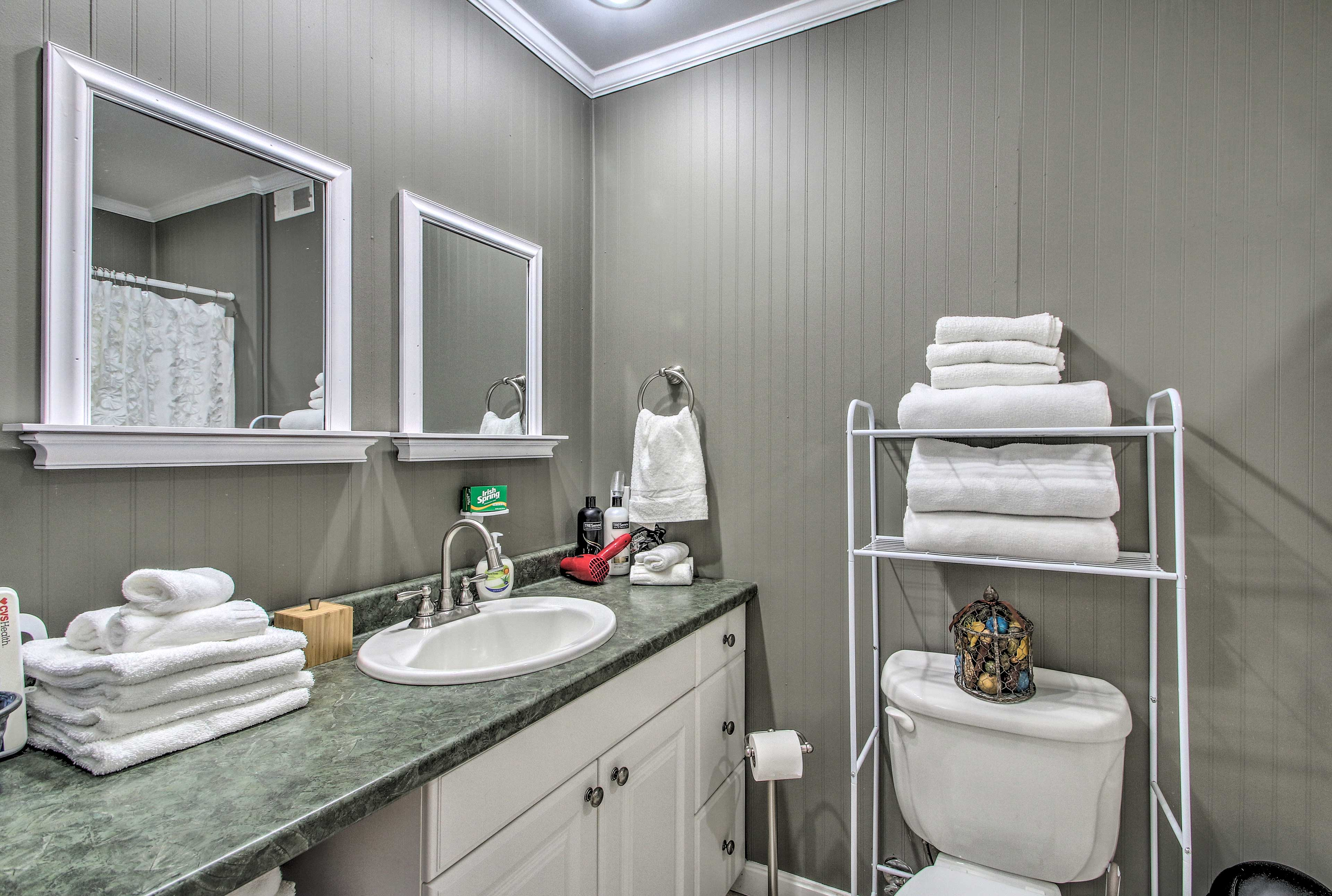 Store all your toiletries on the long vanity.