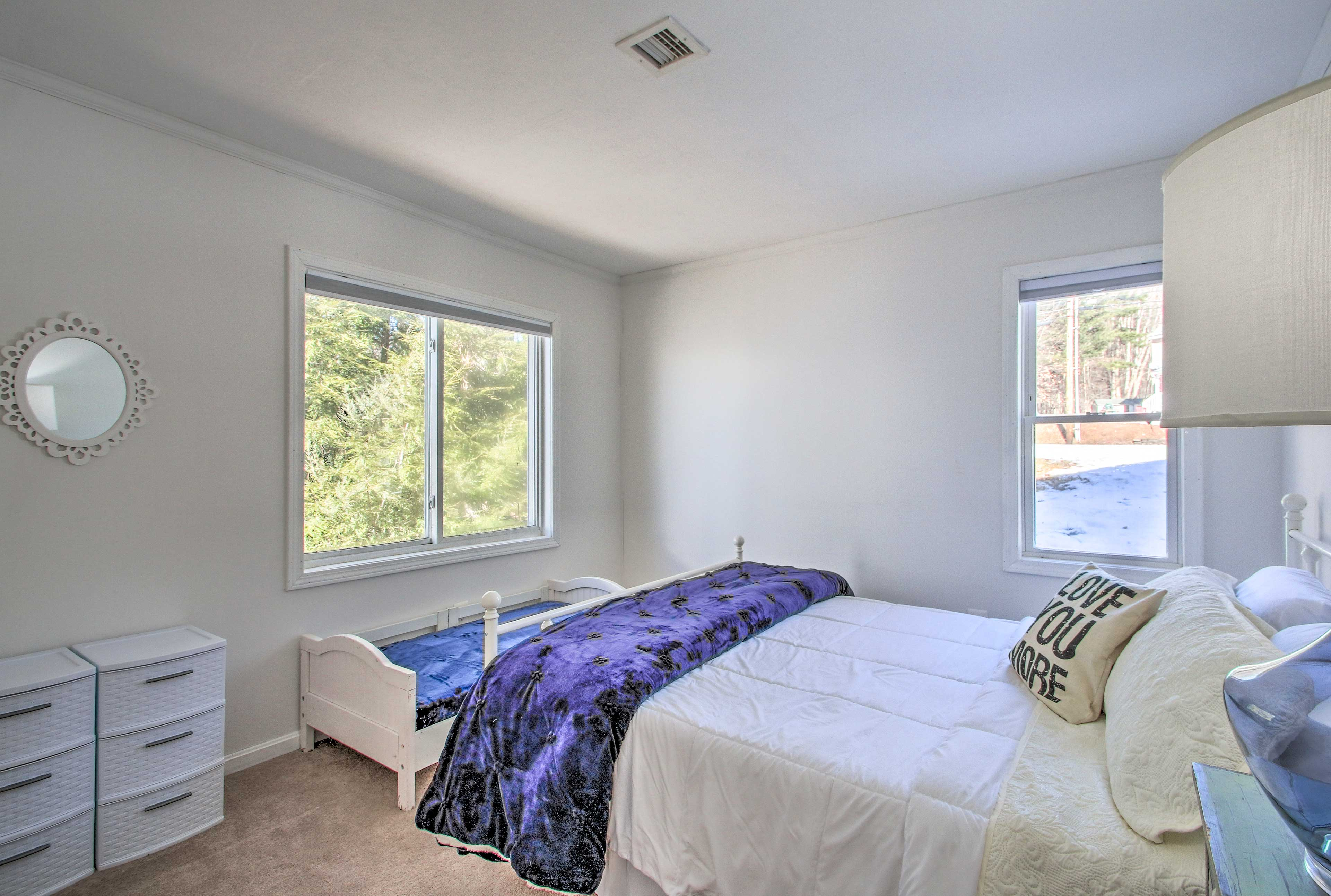 With a queen and twin bed, this room can sleep 3.