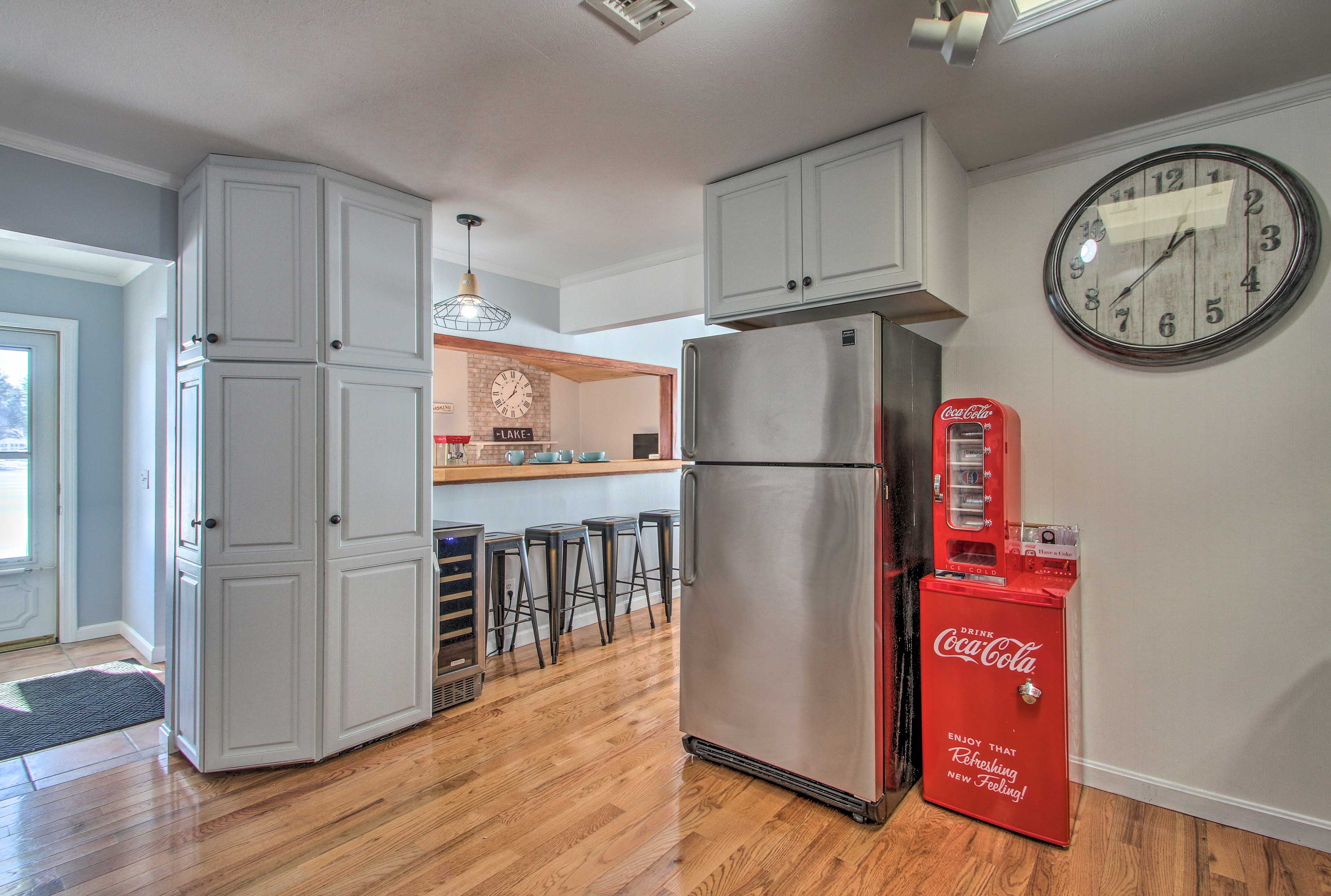 Store your beverages in the wine cooler, mini fridge, or large fridge!