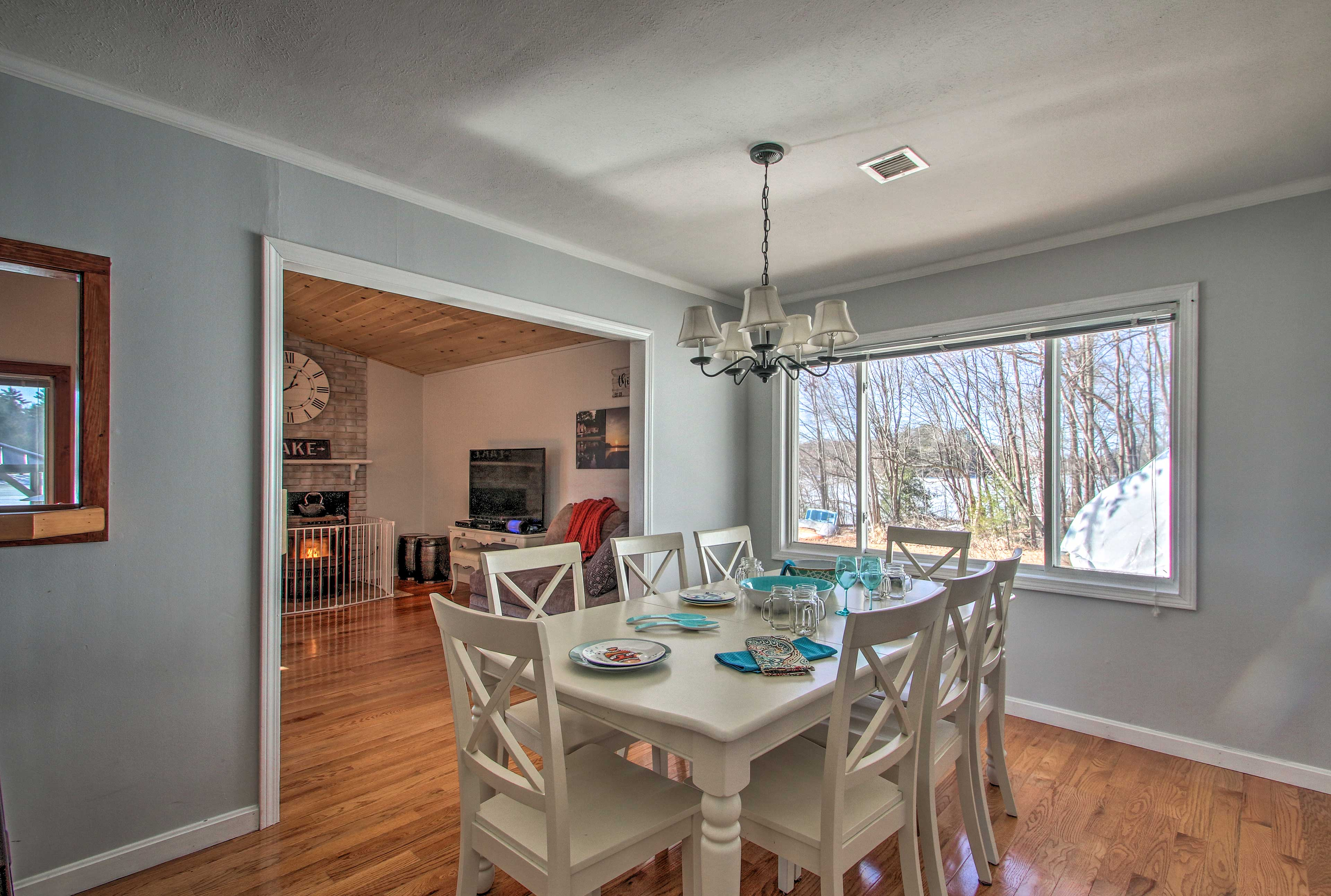 This dining area leads freely from the living room.