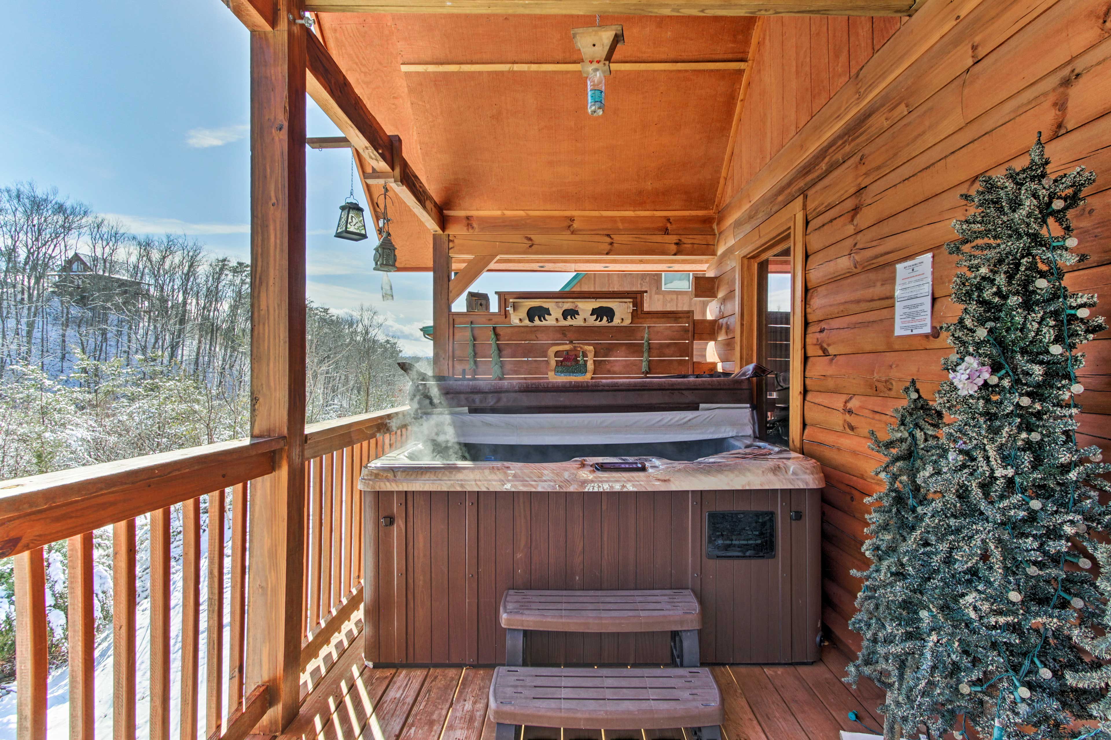Sip, soak, and simply relax in the porch's private hot tub.