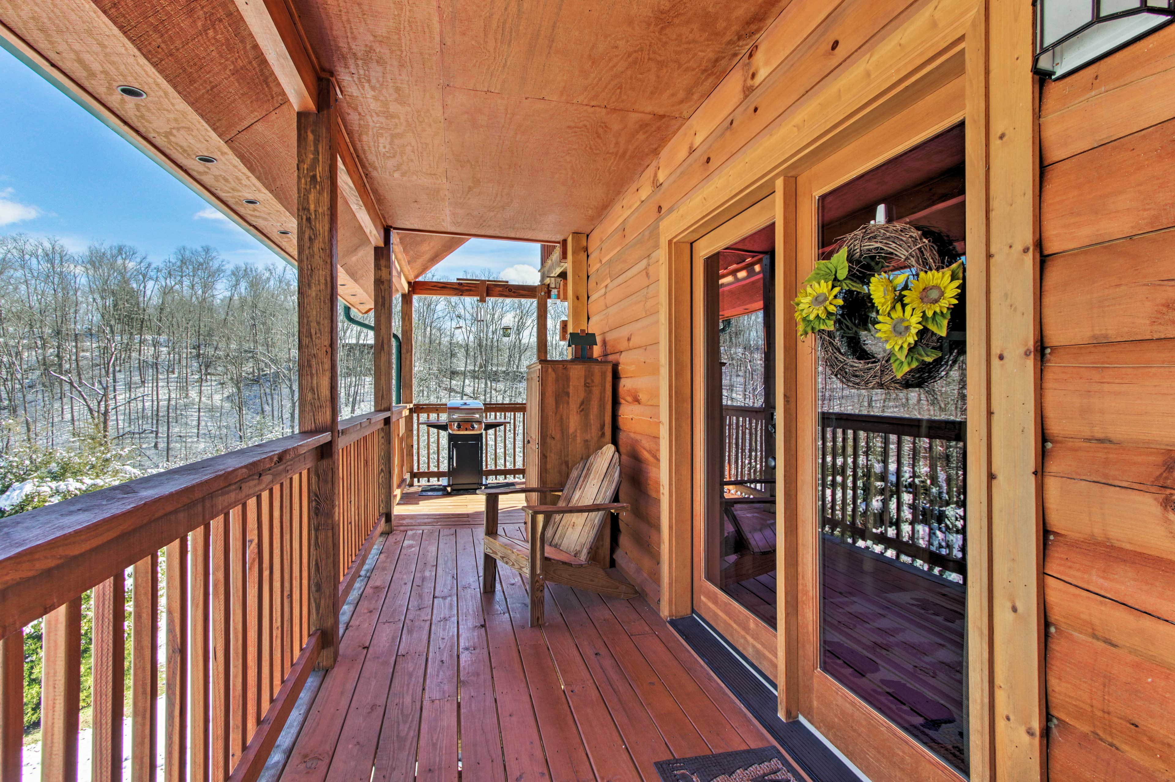 Slide open patio doors and head out to the wraparound balcony.