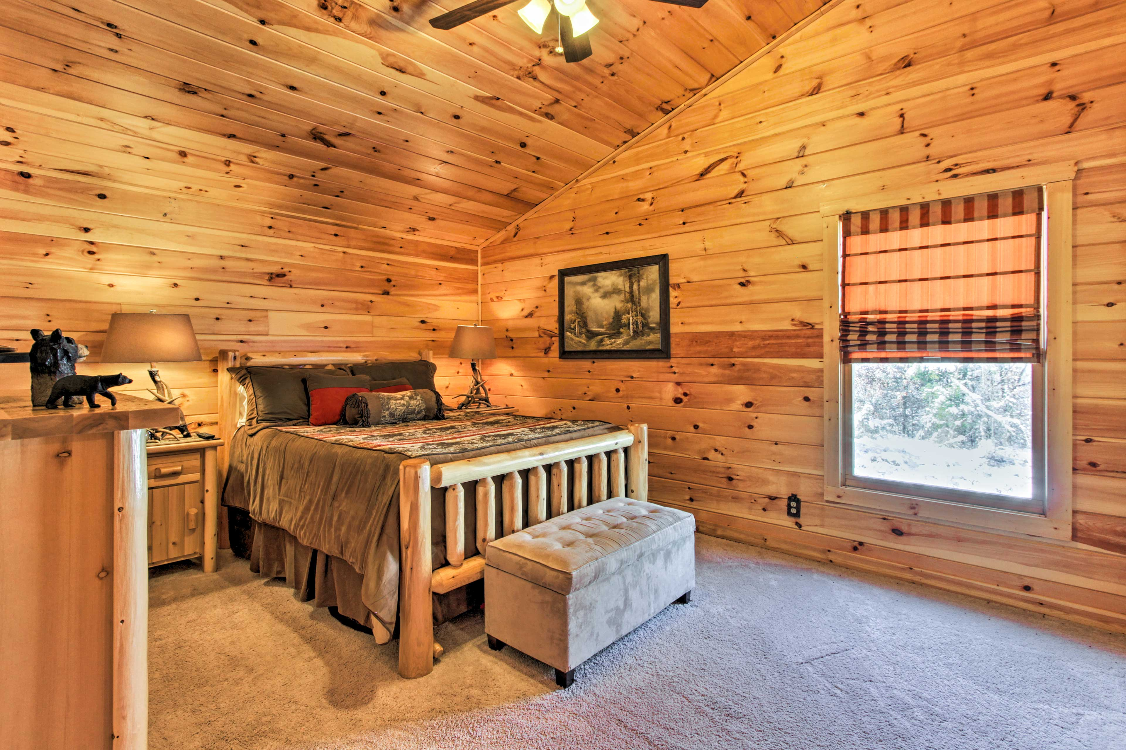 The spacious upstairs bedroom is perfect for accommodating 2.
