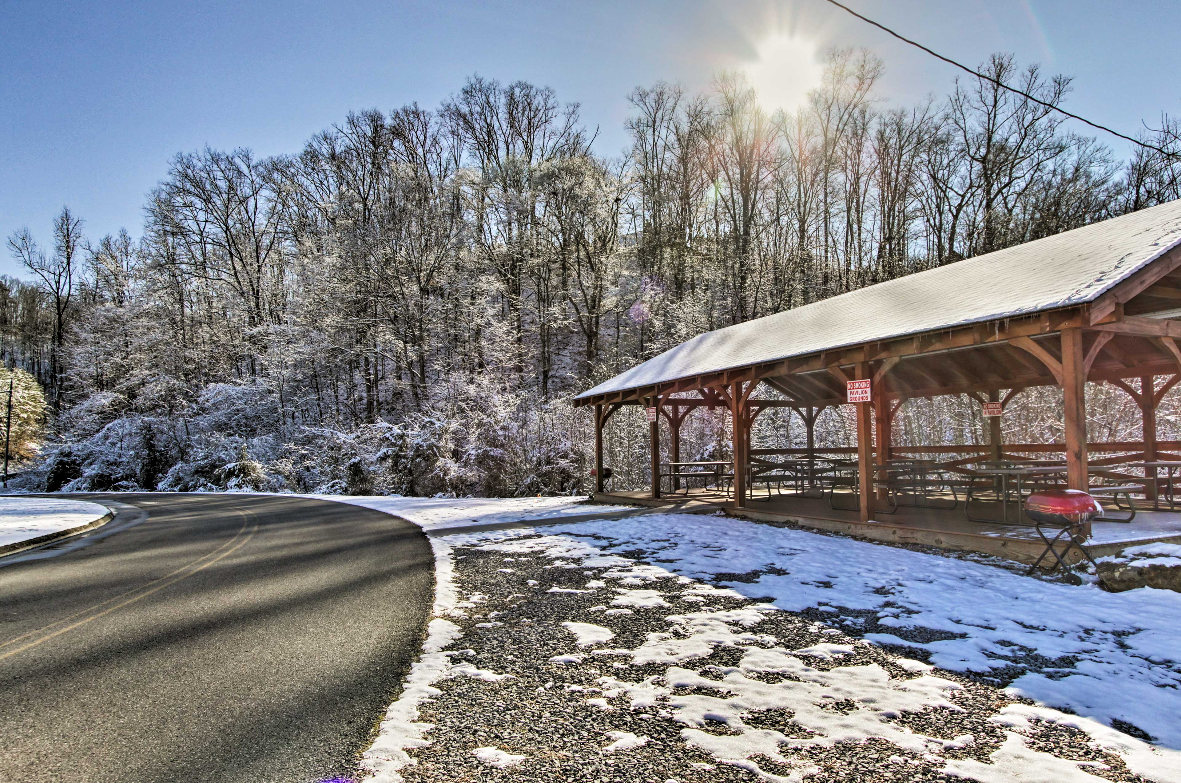 Take a quick drive down the community picnic area for lunch under the gazebo.