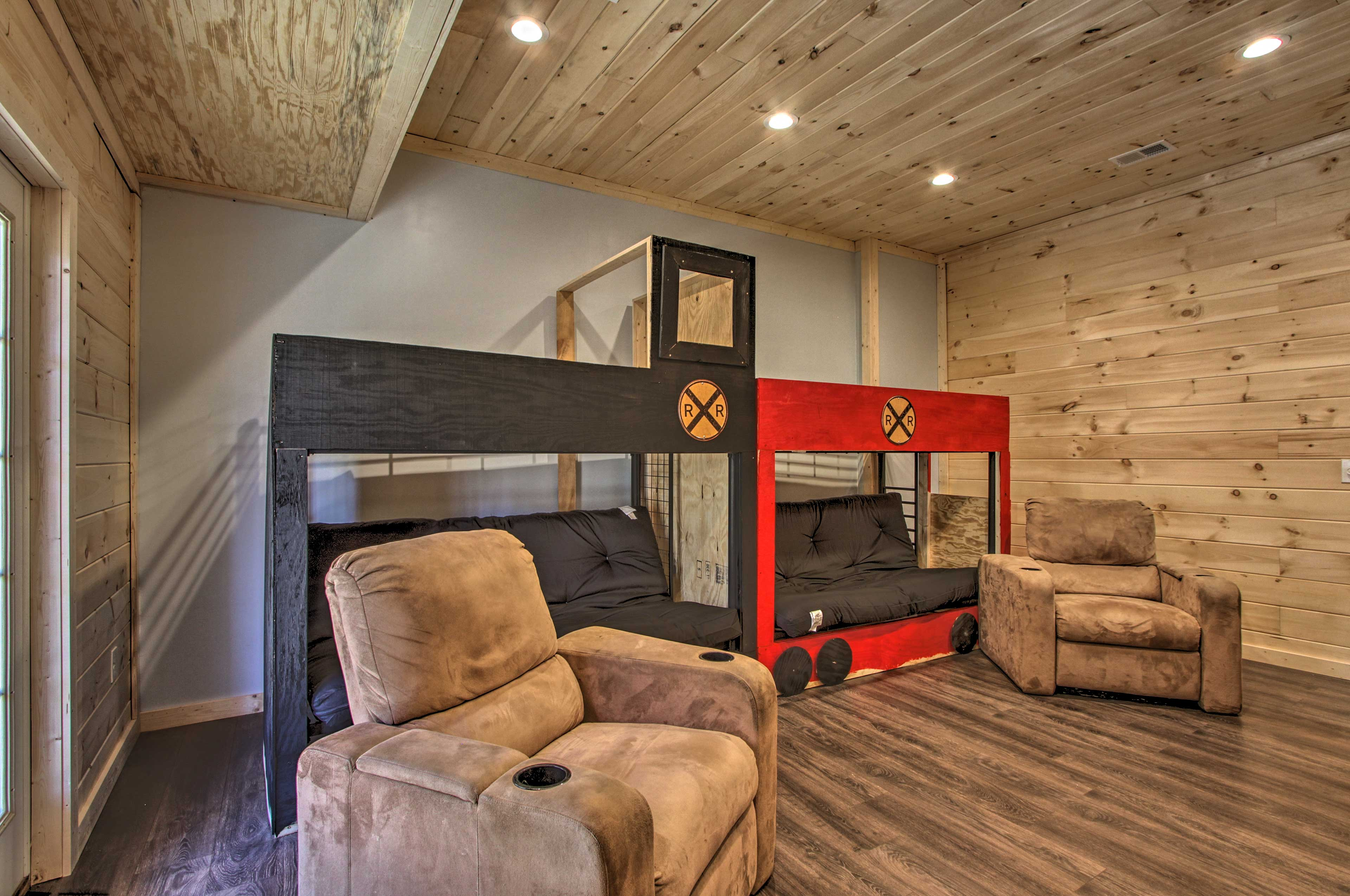 Take advantage of additional sleeping on the two custom-built futons.