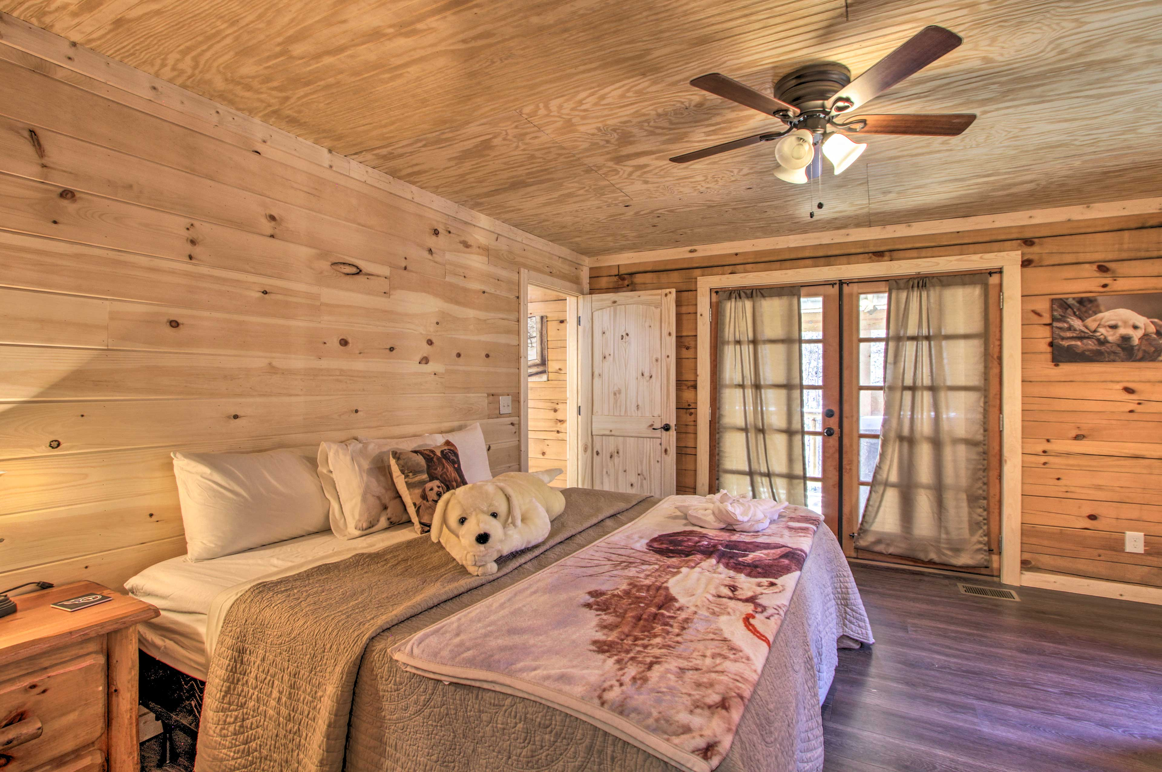 Step inside the master bedroom to find a king-sized bed.