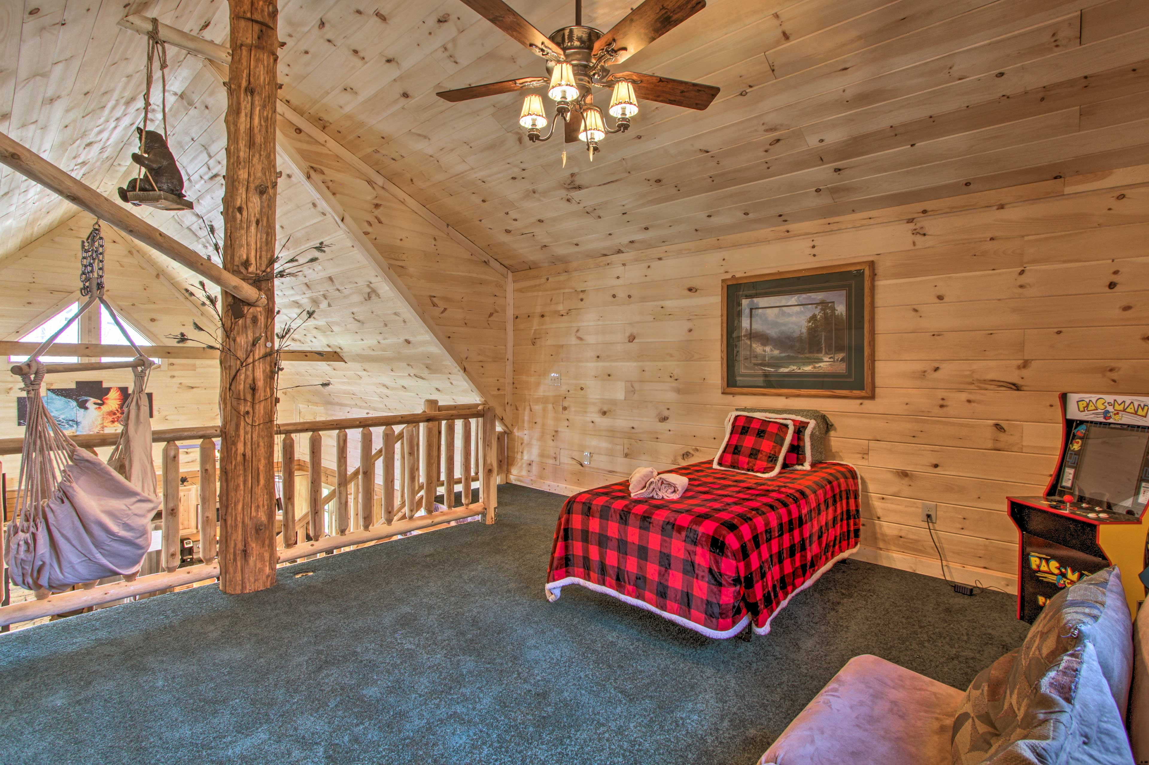 Curl up in the twin bed or take a nap in the hammock in the loft.