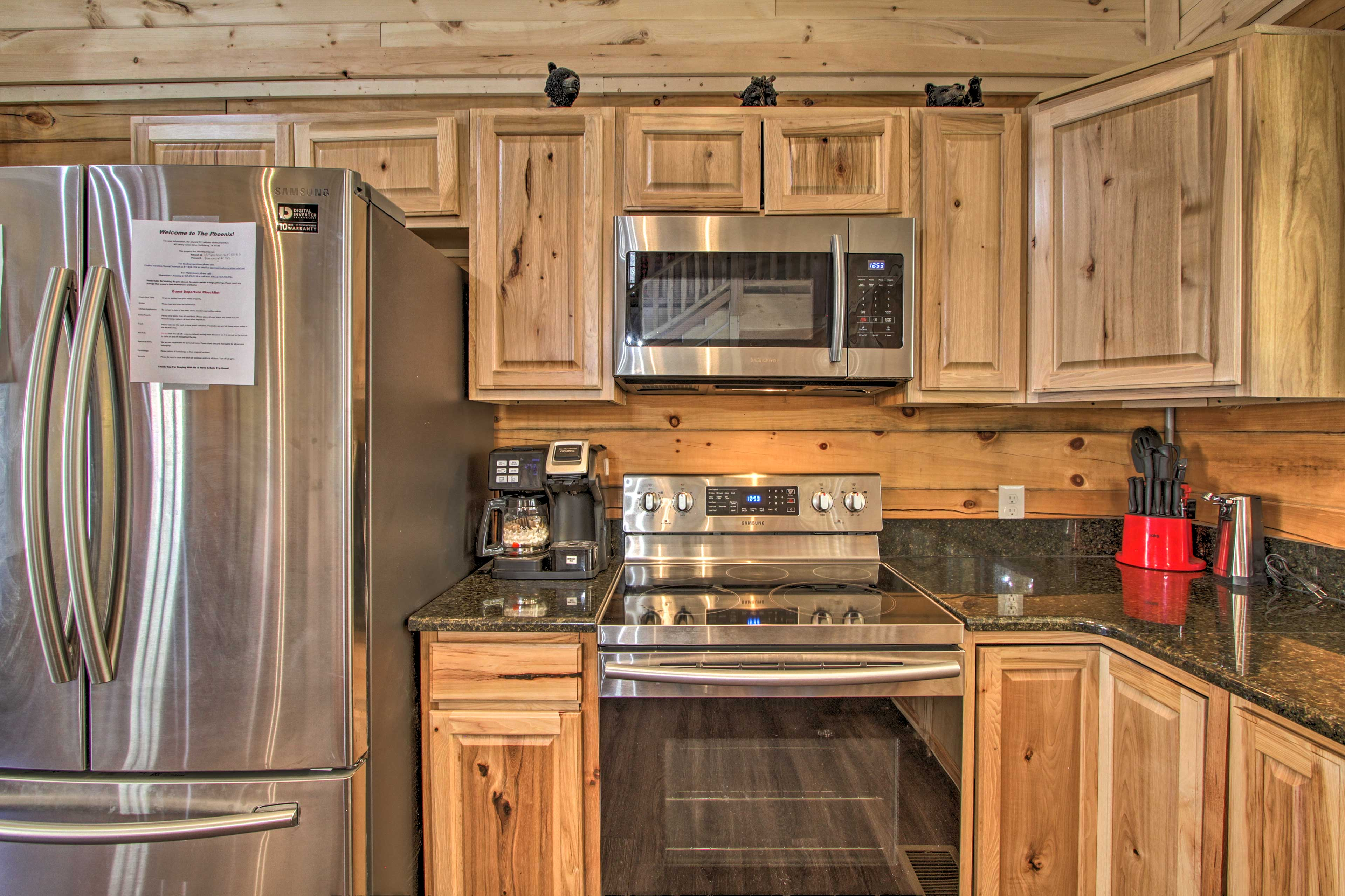 Delight in stainless steel appliances that make meal time a breeze.
