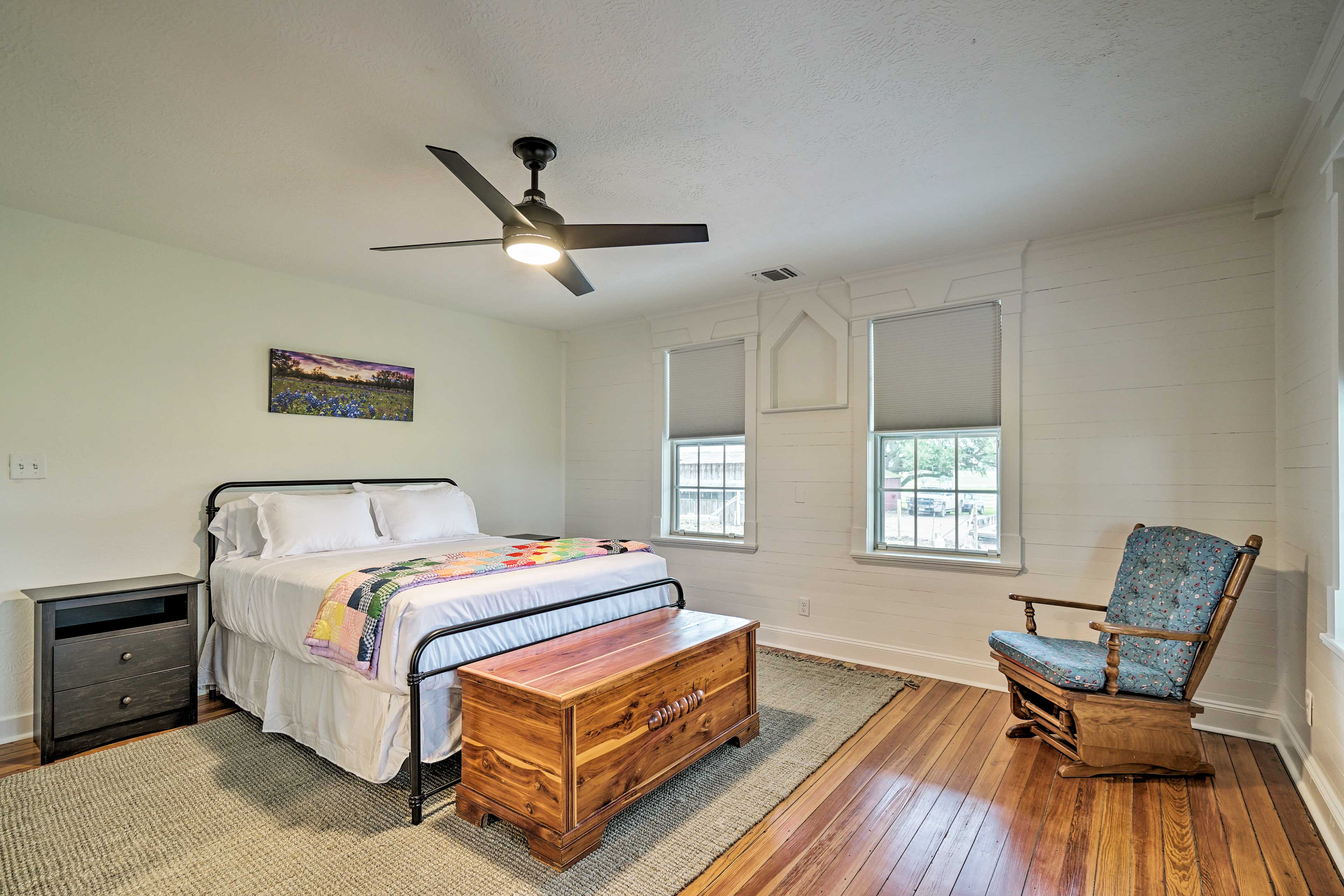 The first bedroom is well-suited for a group of 2.