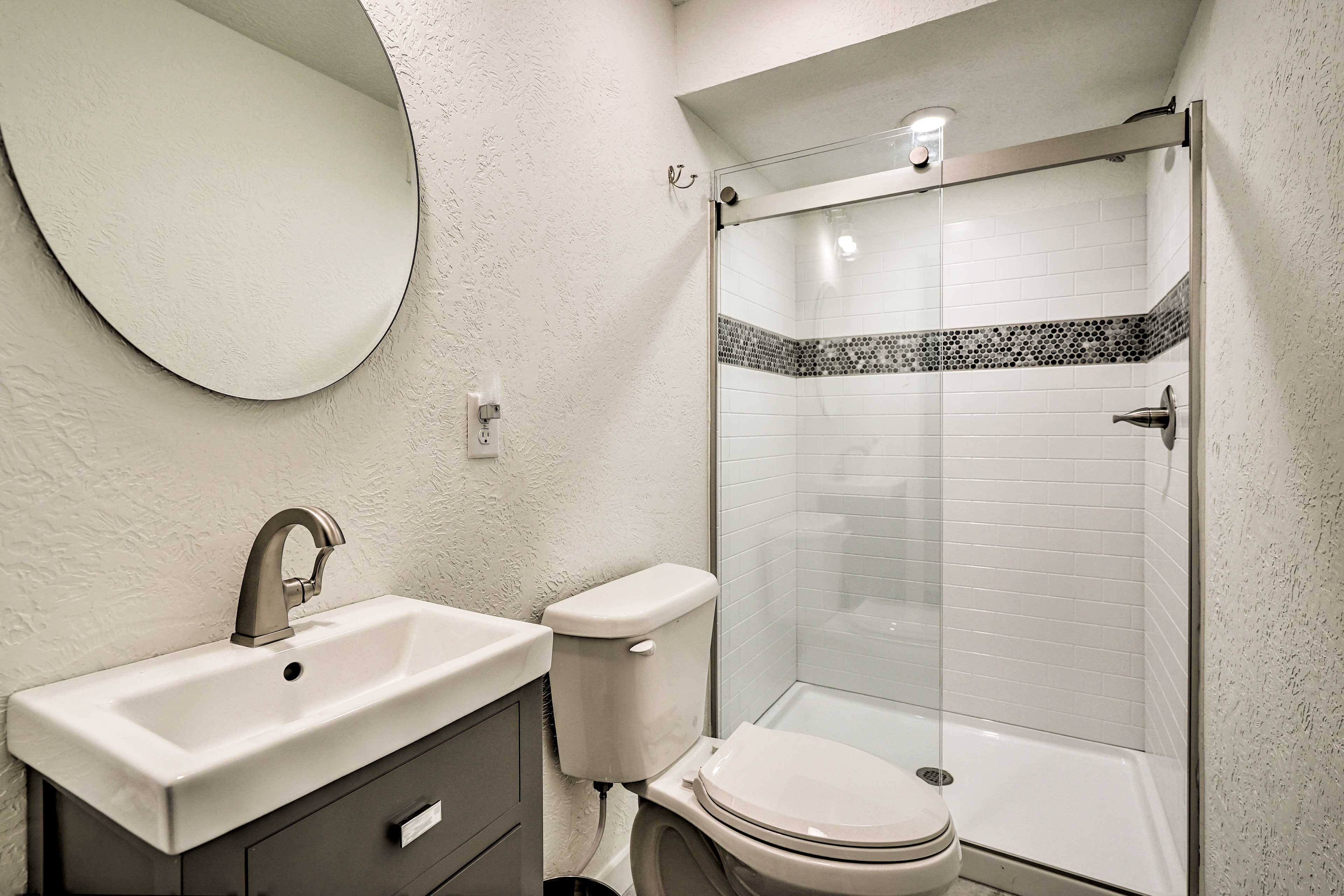 Rinse off in this walk-in shower.