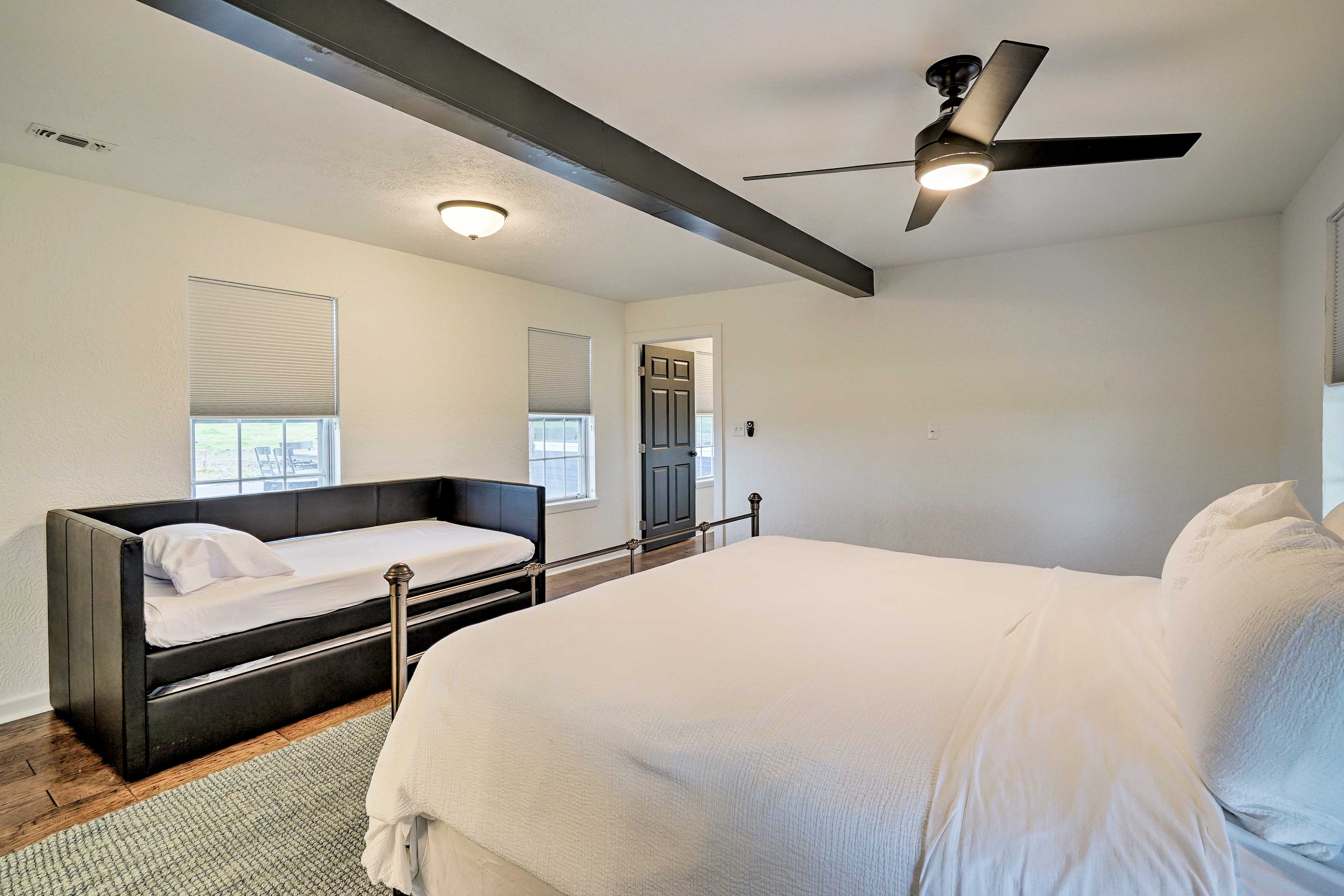 The master bedroom has space for up to 4 guests.