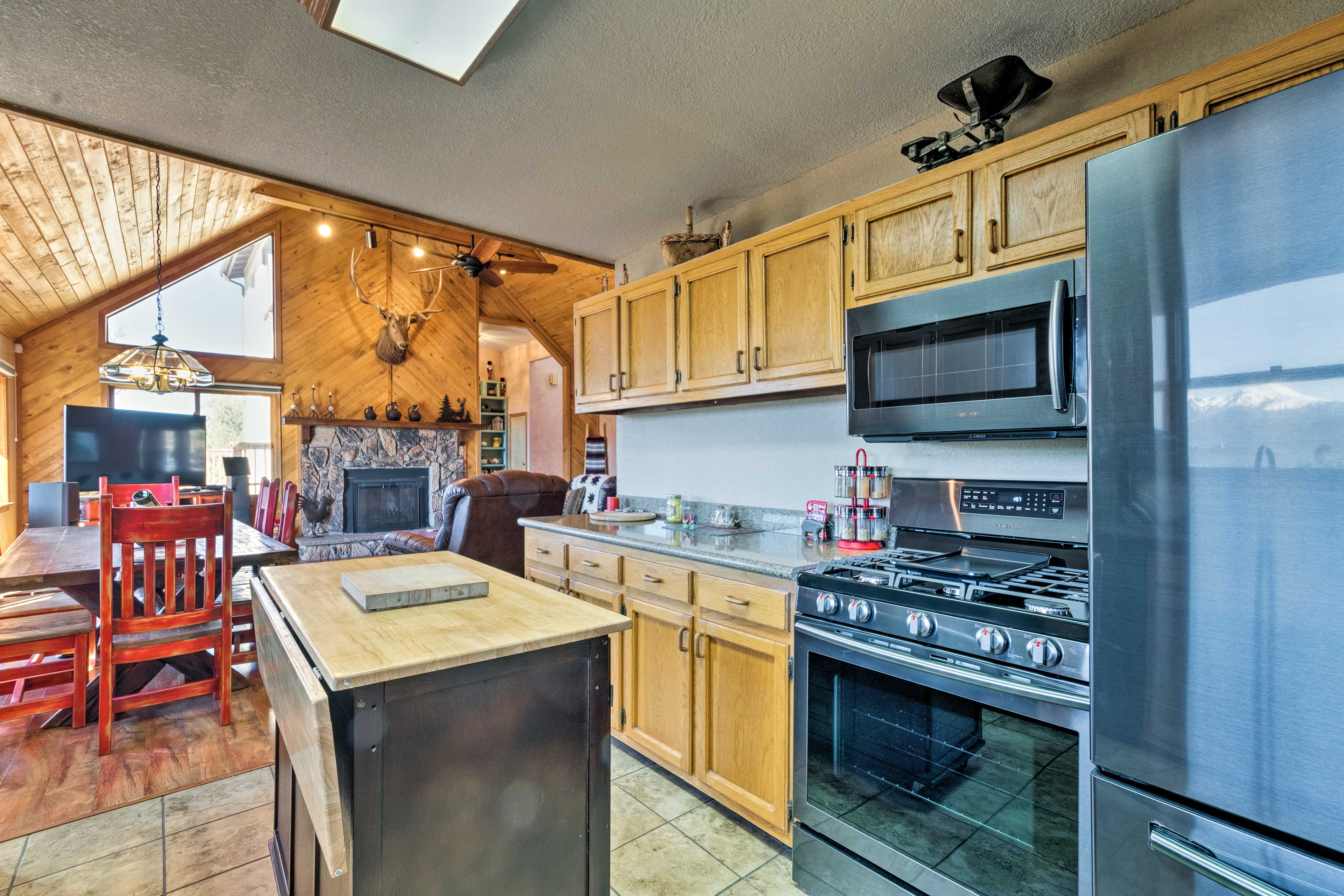 Refuel with hearty home-cooked meals prepared in the spacious kitchen.