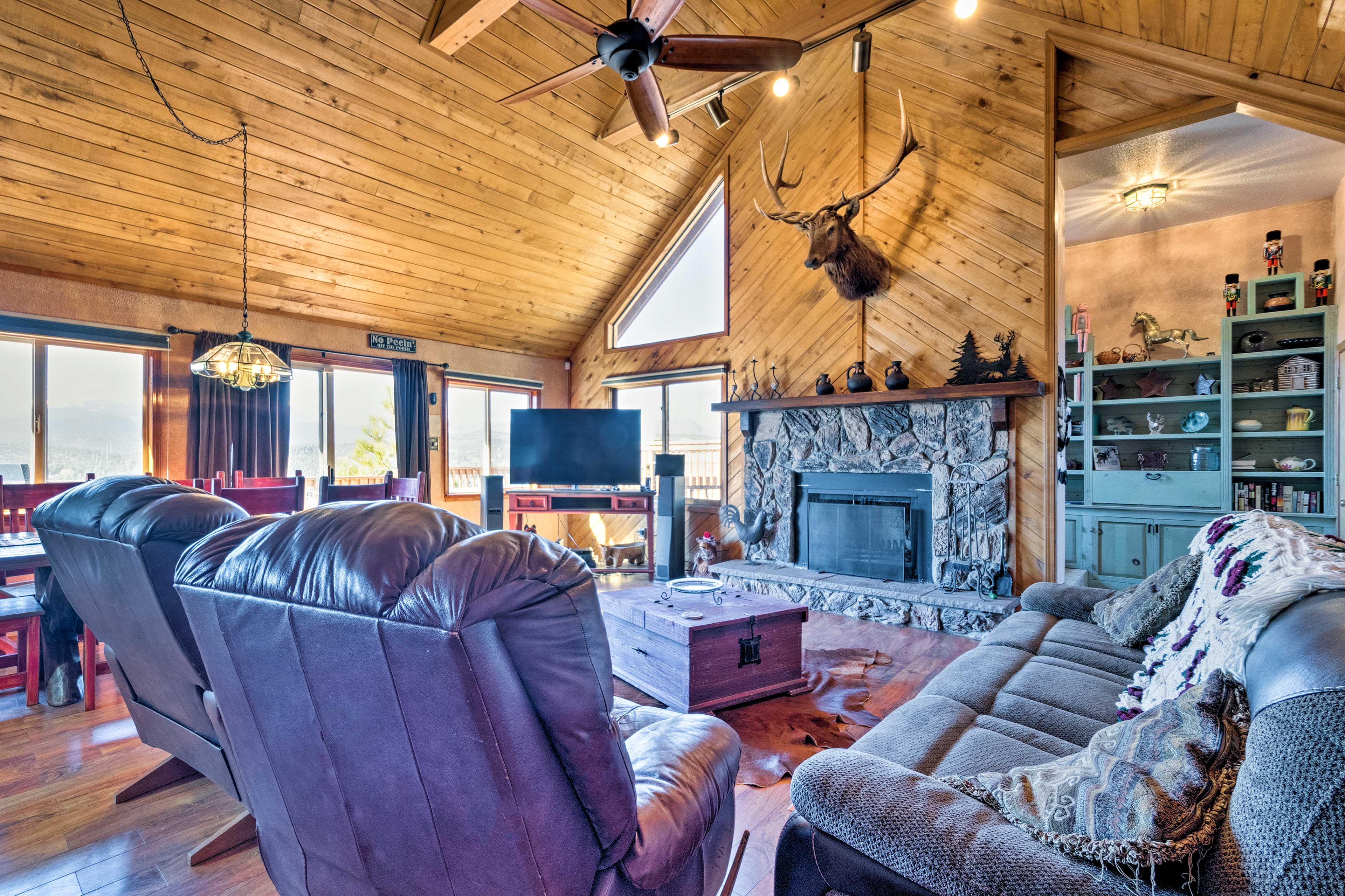 There are 4 bedrooms, 3 bathrooms and accommodations for 15 guests.