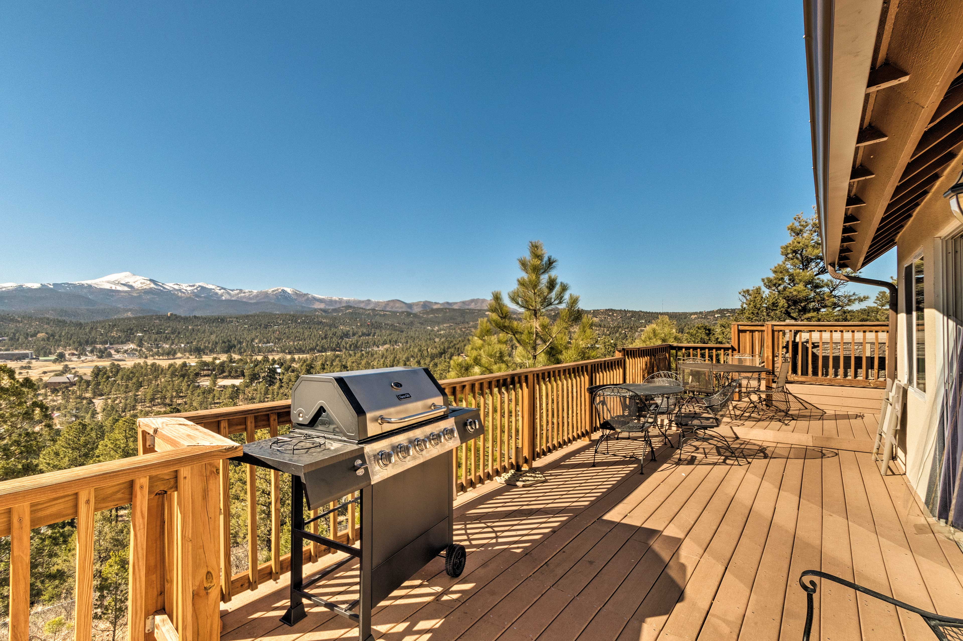 Fire up the gas grill for a barbecue dinner out on the deck.