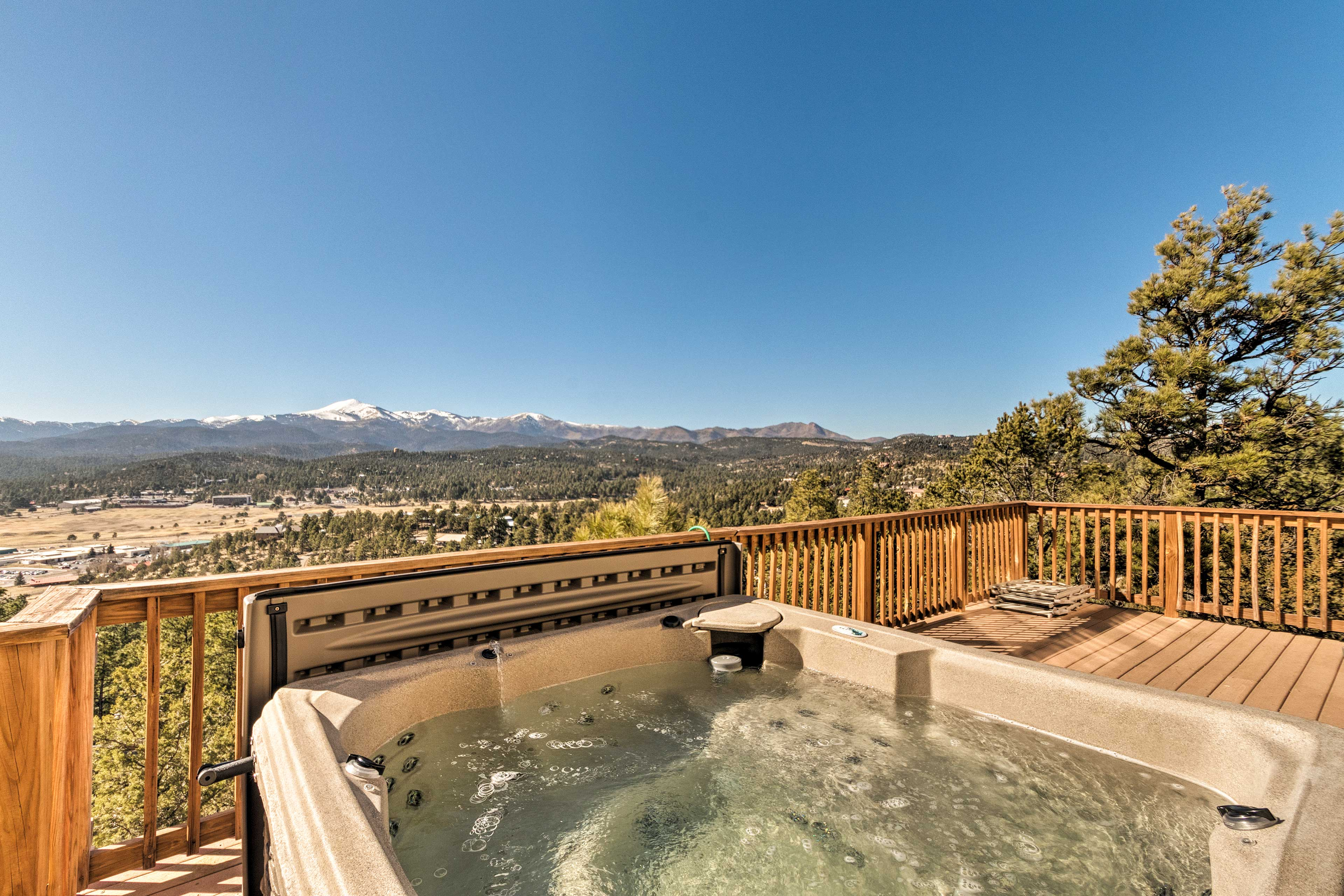 End each day with a hot tub soak under the stars.