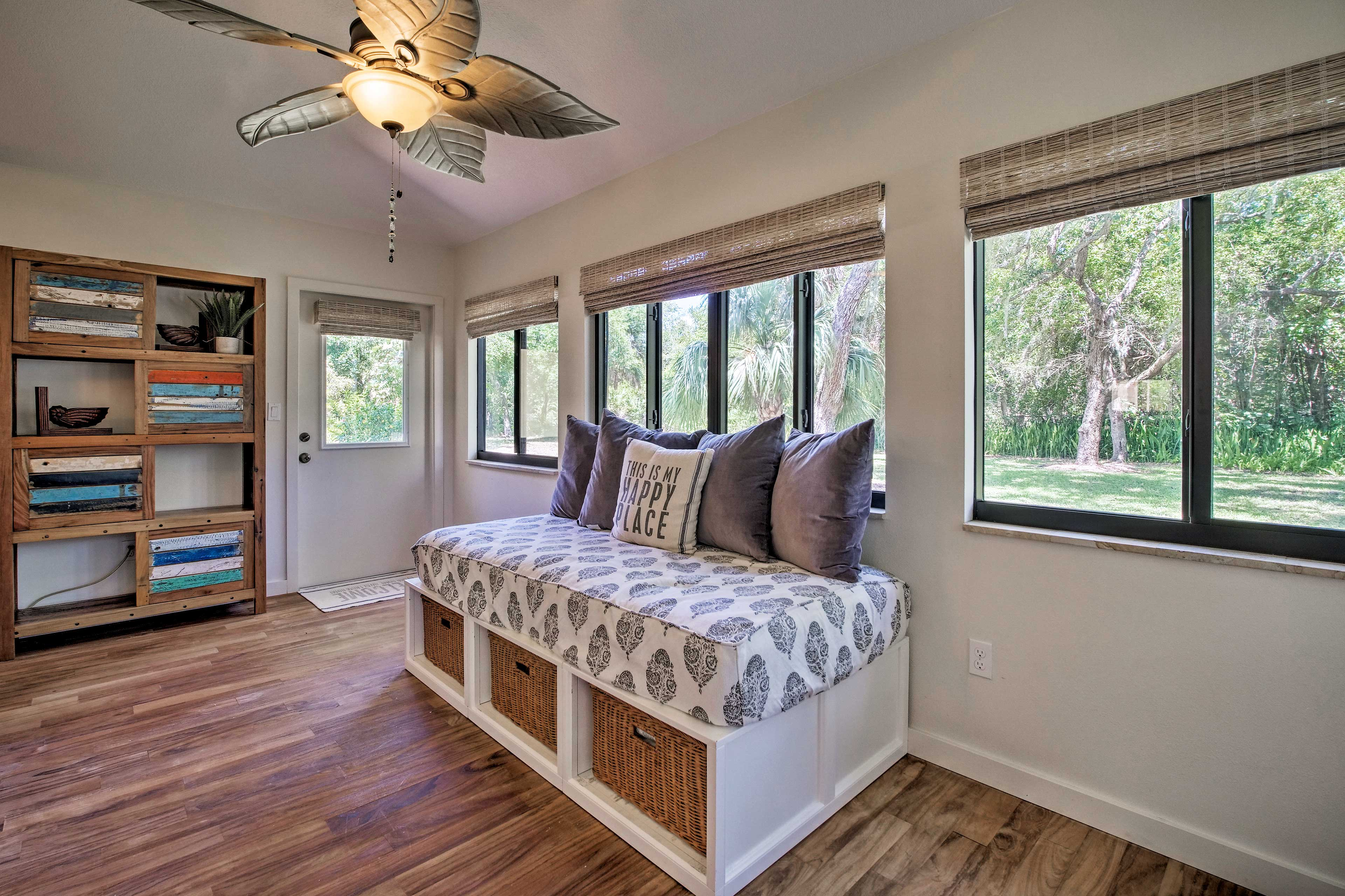 Take a mid day nap in the sun room on this twin bed