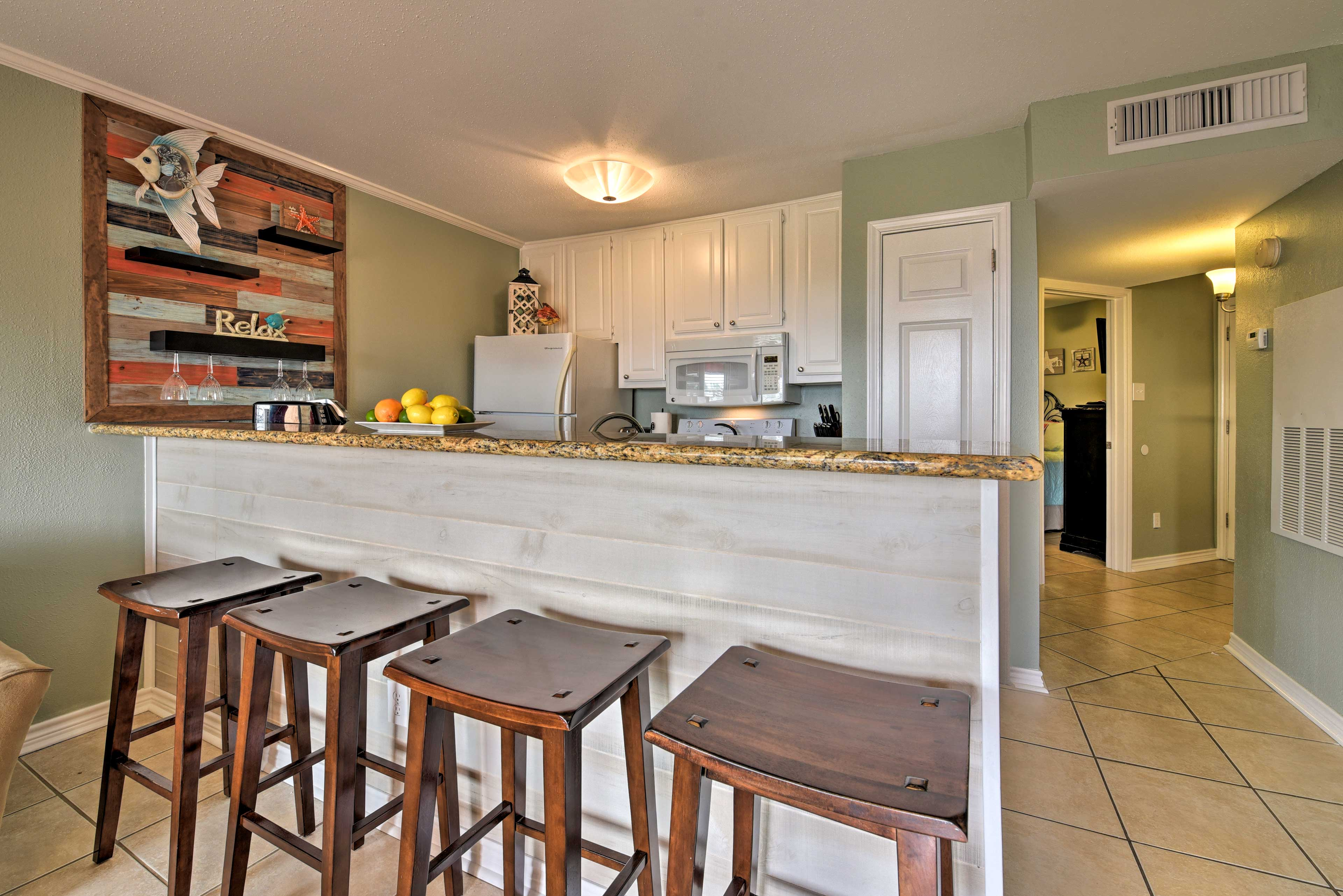 The fully equipped kitchen makes it easy to cook for the family.