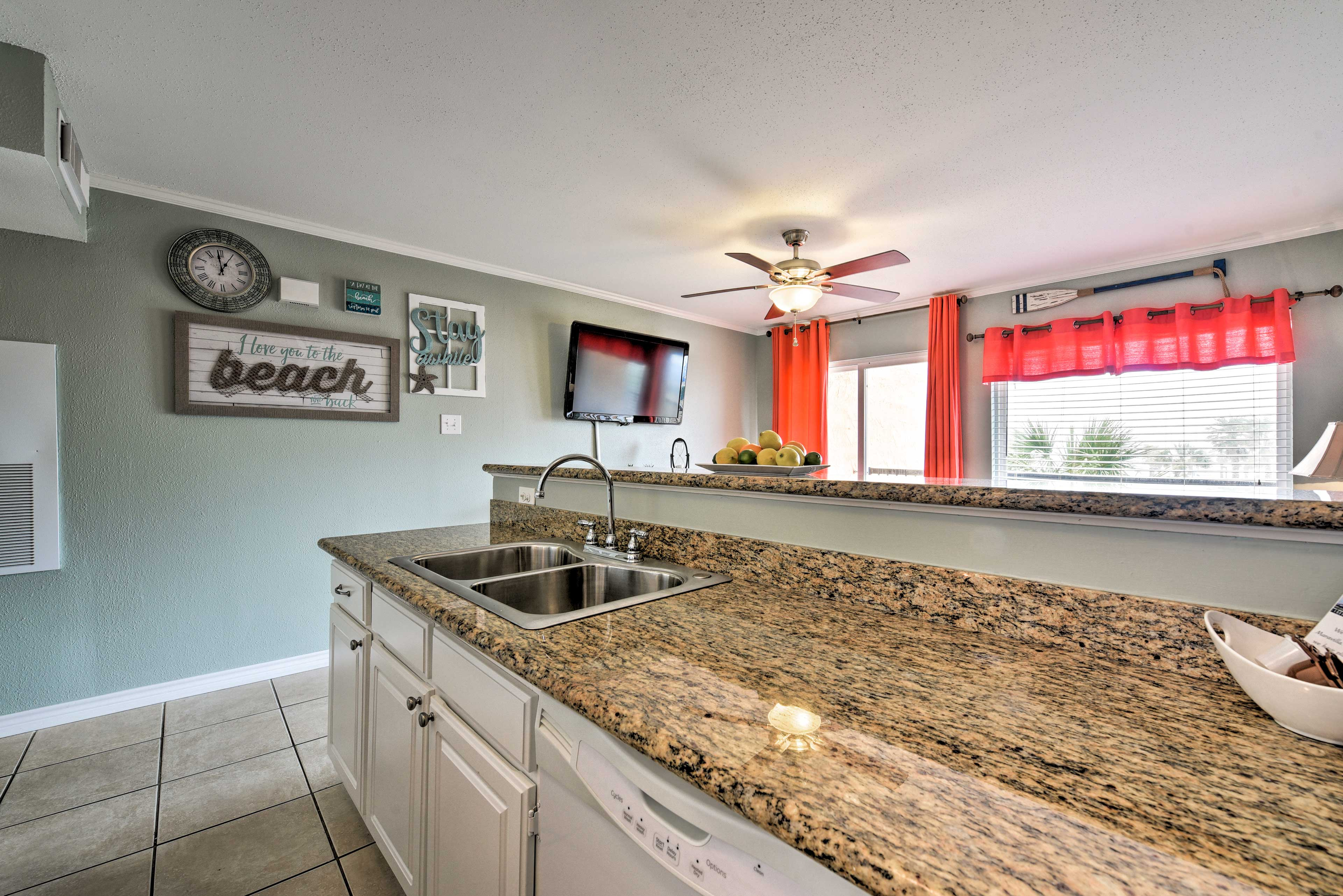 The granite countertops give the home an upscale feel.
