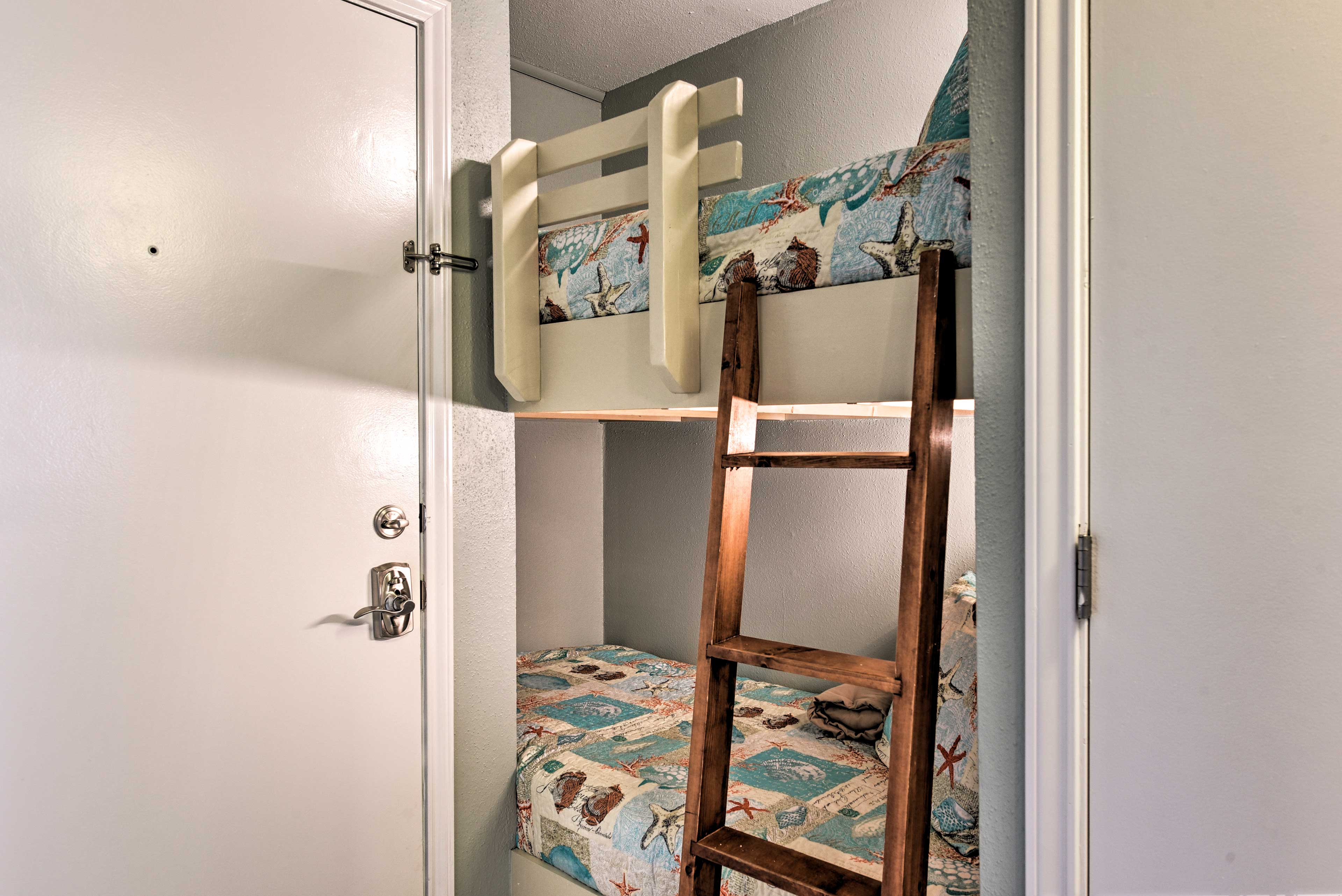 Perfect for kids, the home features a twin-over-twin bunk bed.