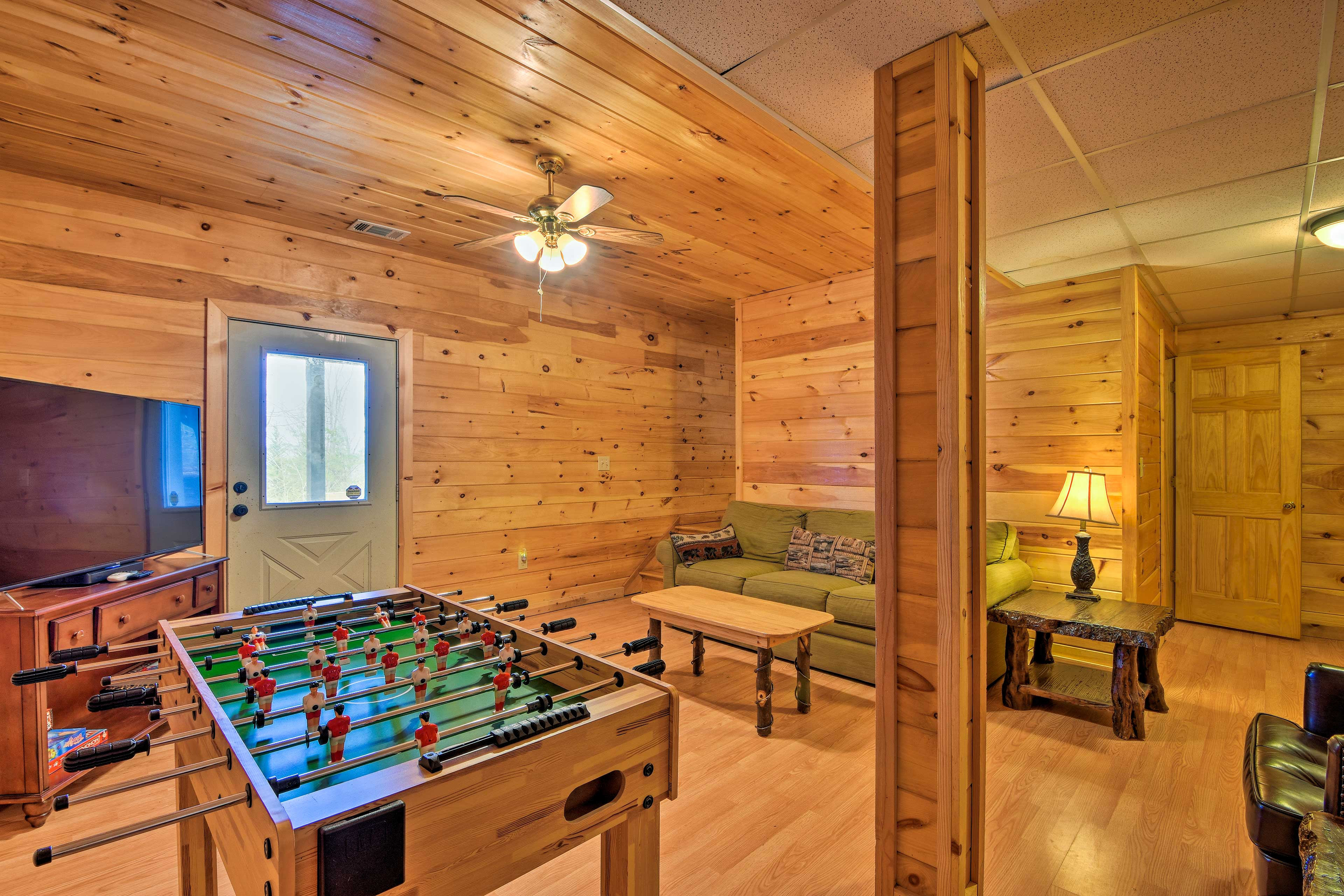 Provided board games and a foosball table complete the room!