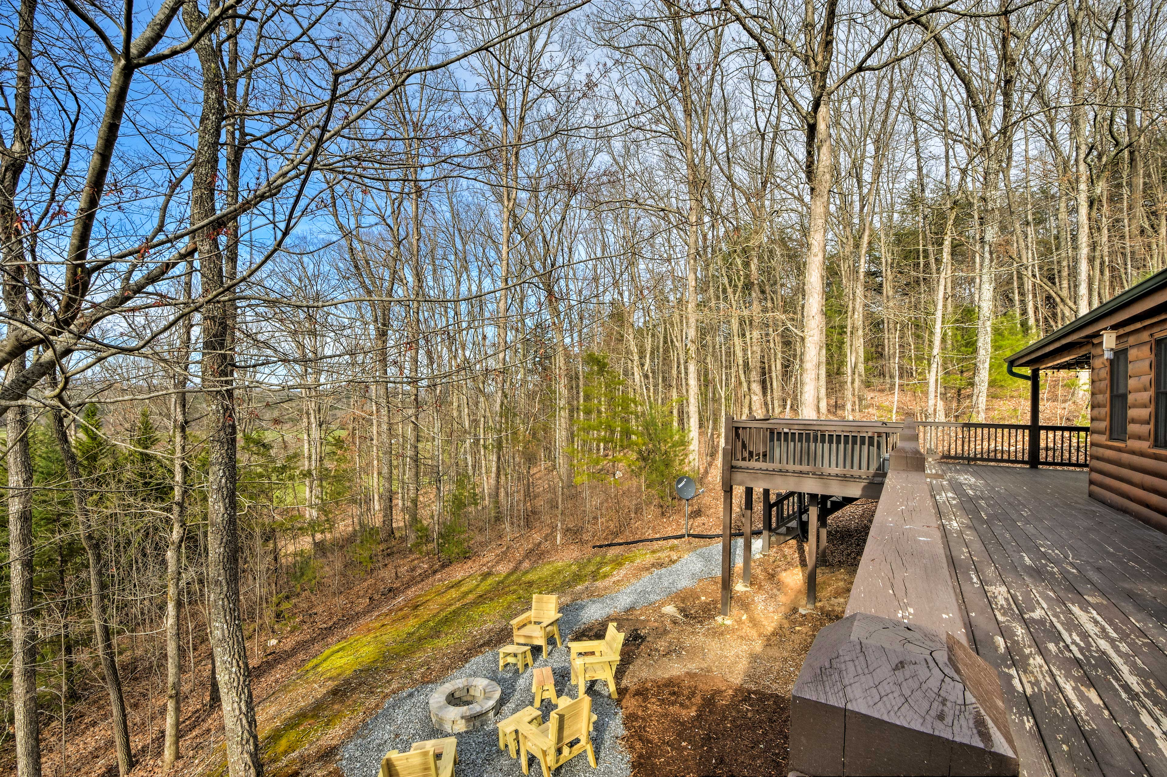 The forested property provides peace and privacy.
