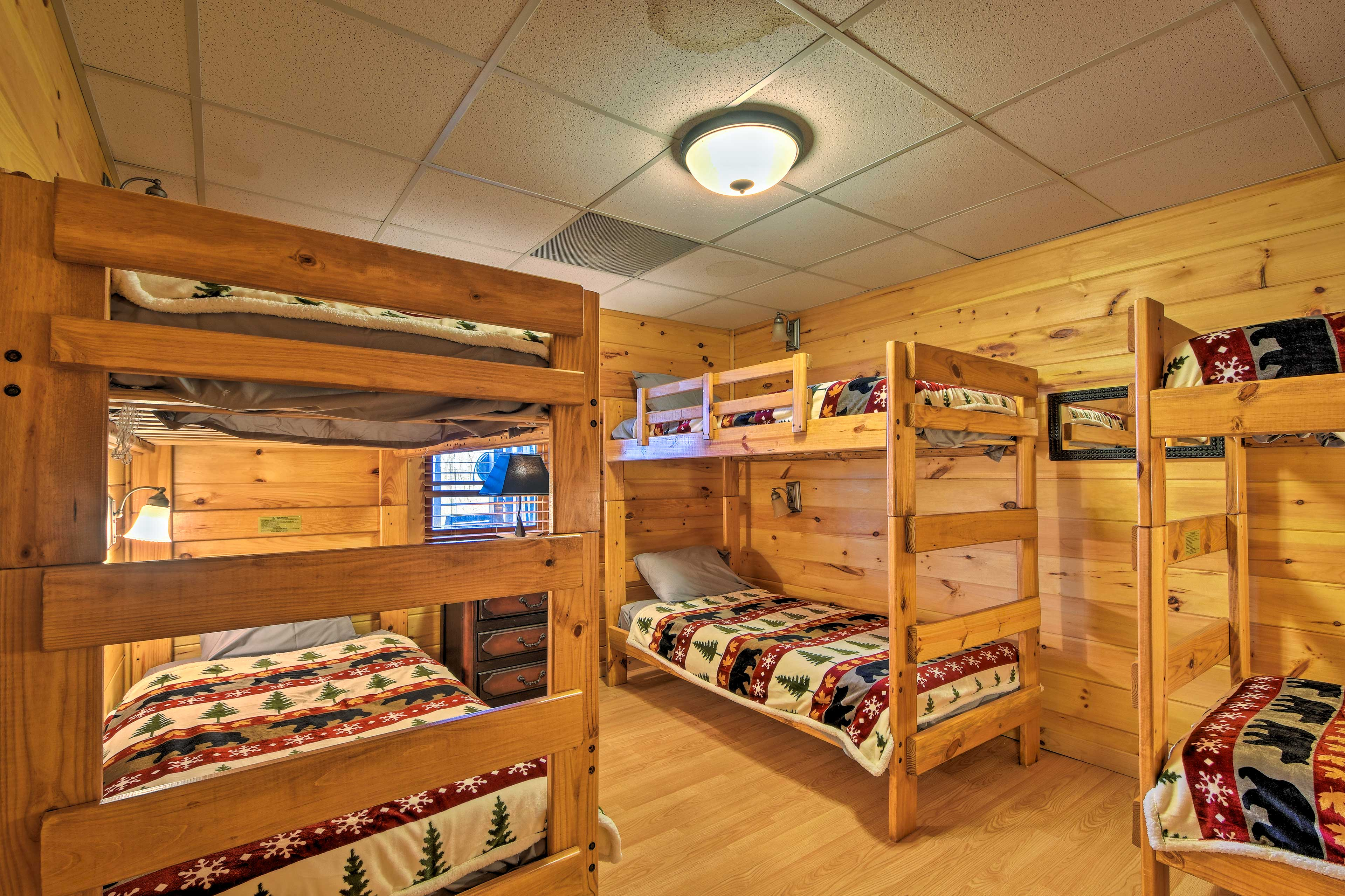 The bunk room features 3 twin bunk beds to sleep 6 guests!