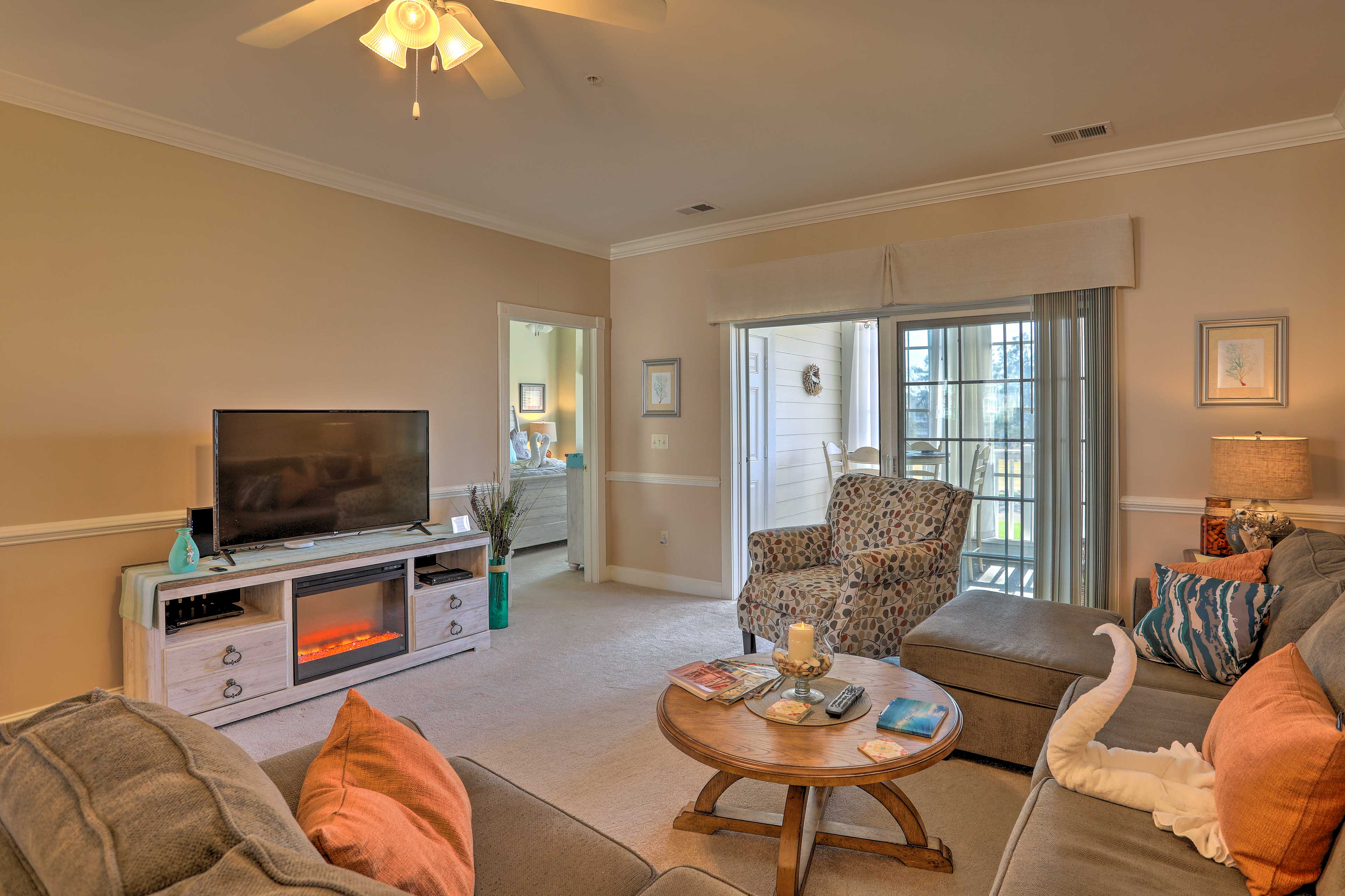 Unwind by the gas fireplace in the living room.