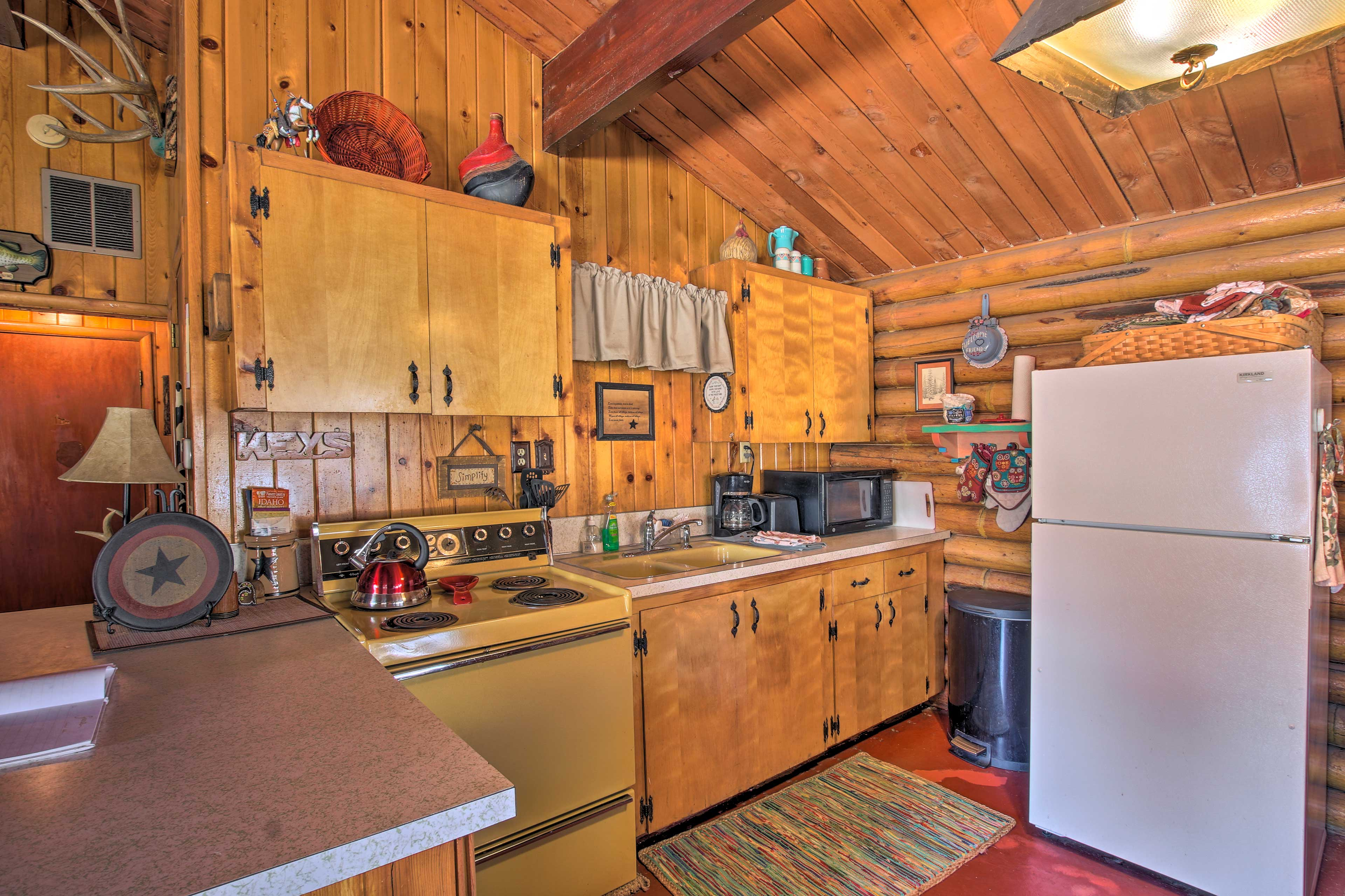 Prepare meals in the well-equipped kitchen.