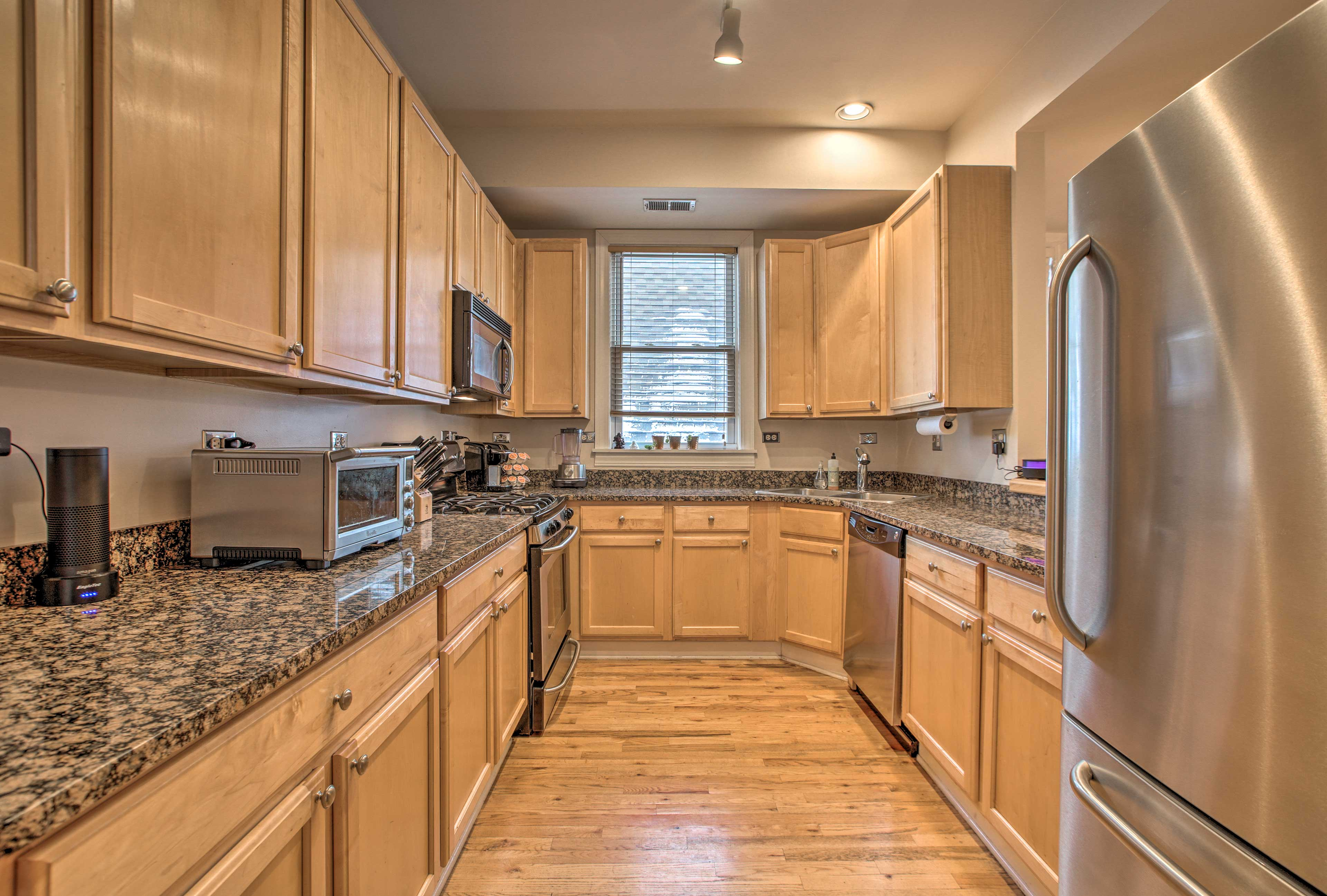 The large kitchen is newly updated & fully equipped!
