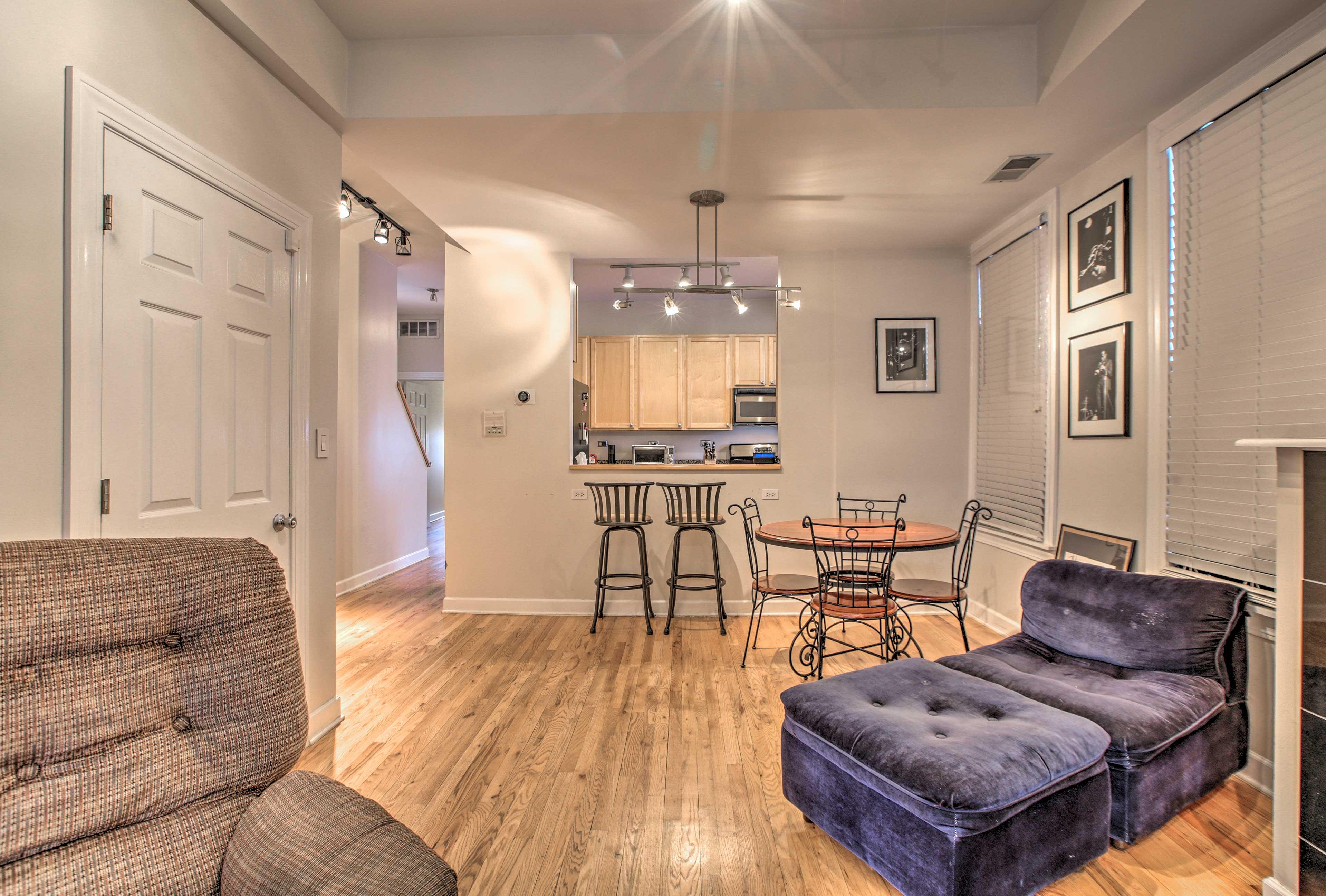 Sleek hardwood floors span the 2,000 square feet of space.