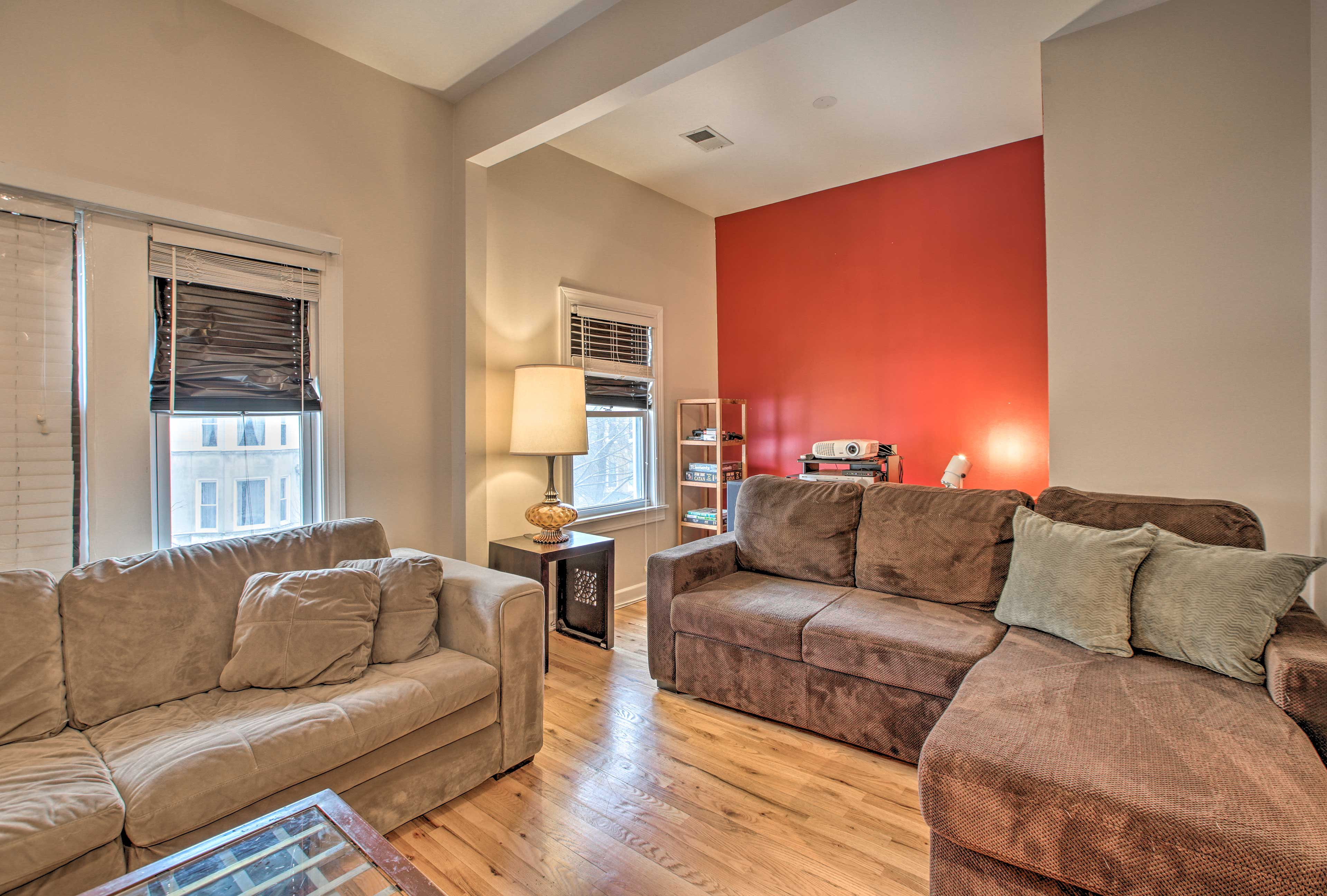 The 2 couches offer plenty of space for your group of 10 to spread out.