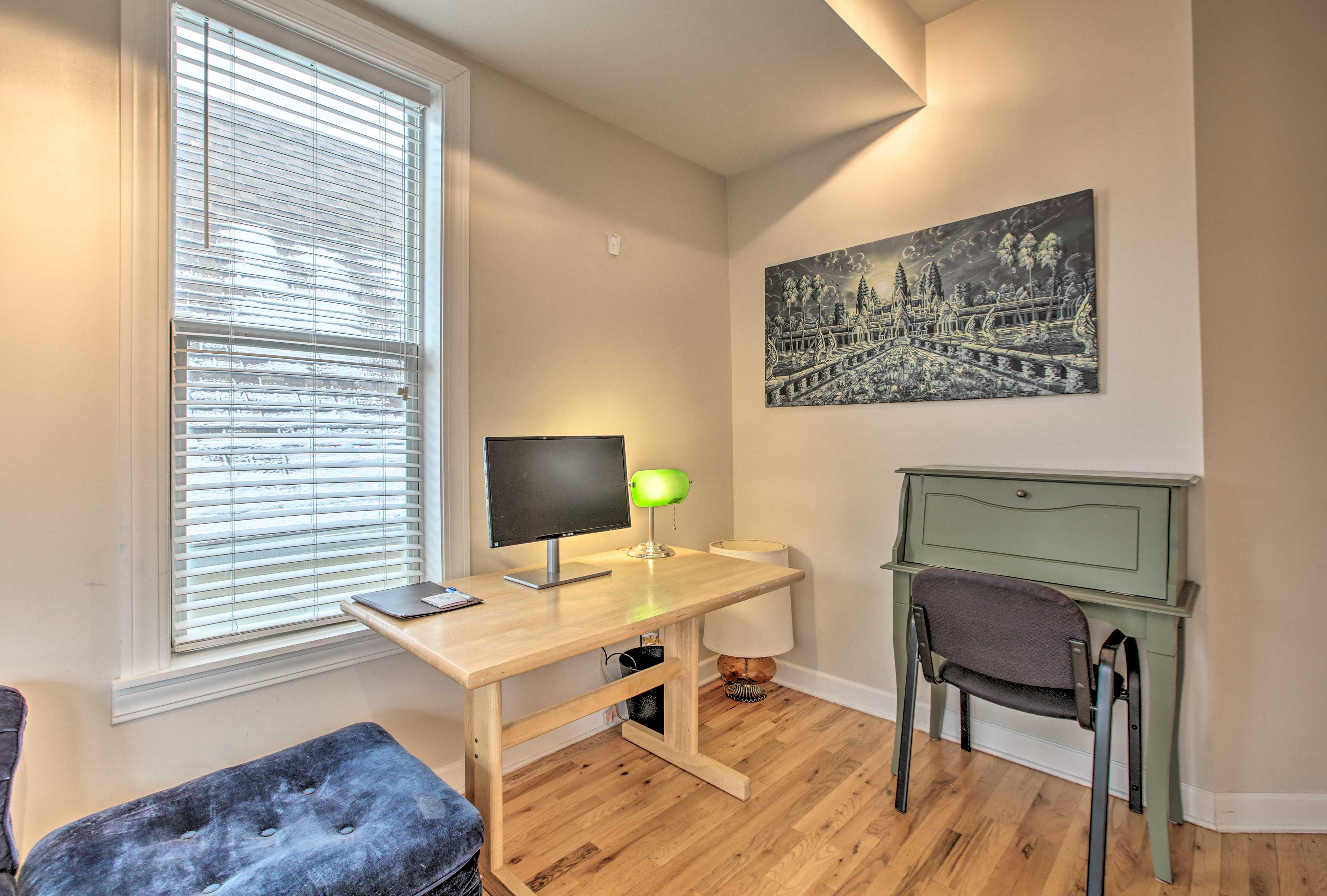 Utilize this office room if you can't leave work at home.