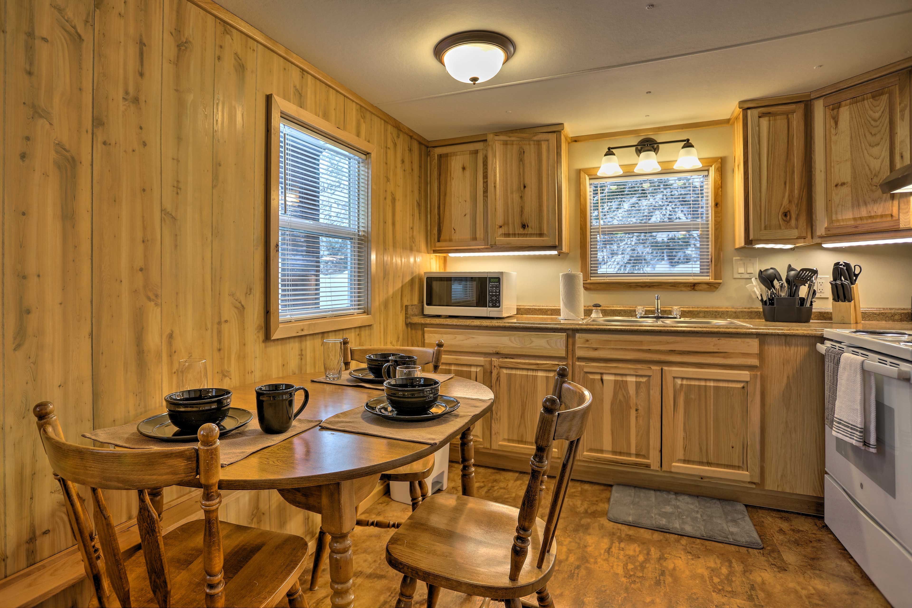 The interior boasts wooden accents that give a quaint rustic feel.