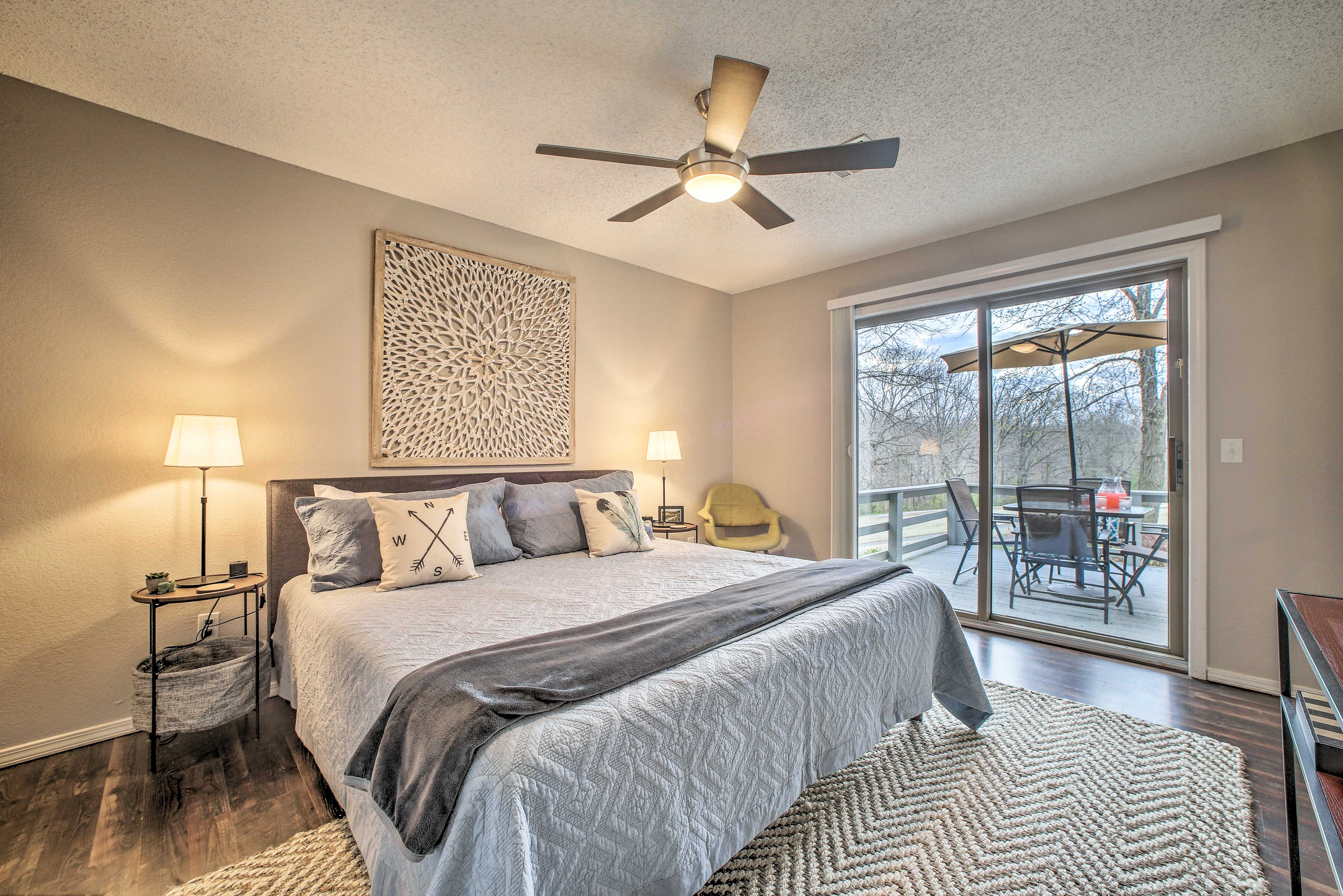 The master bedroom enjoys private access to the balcony.