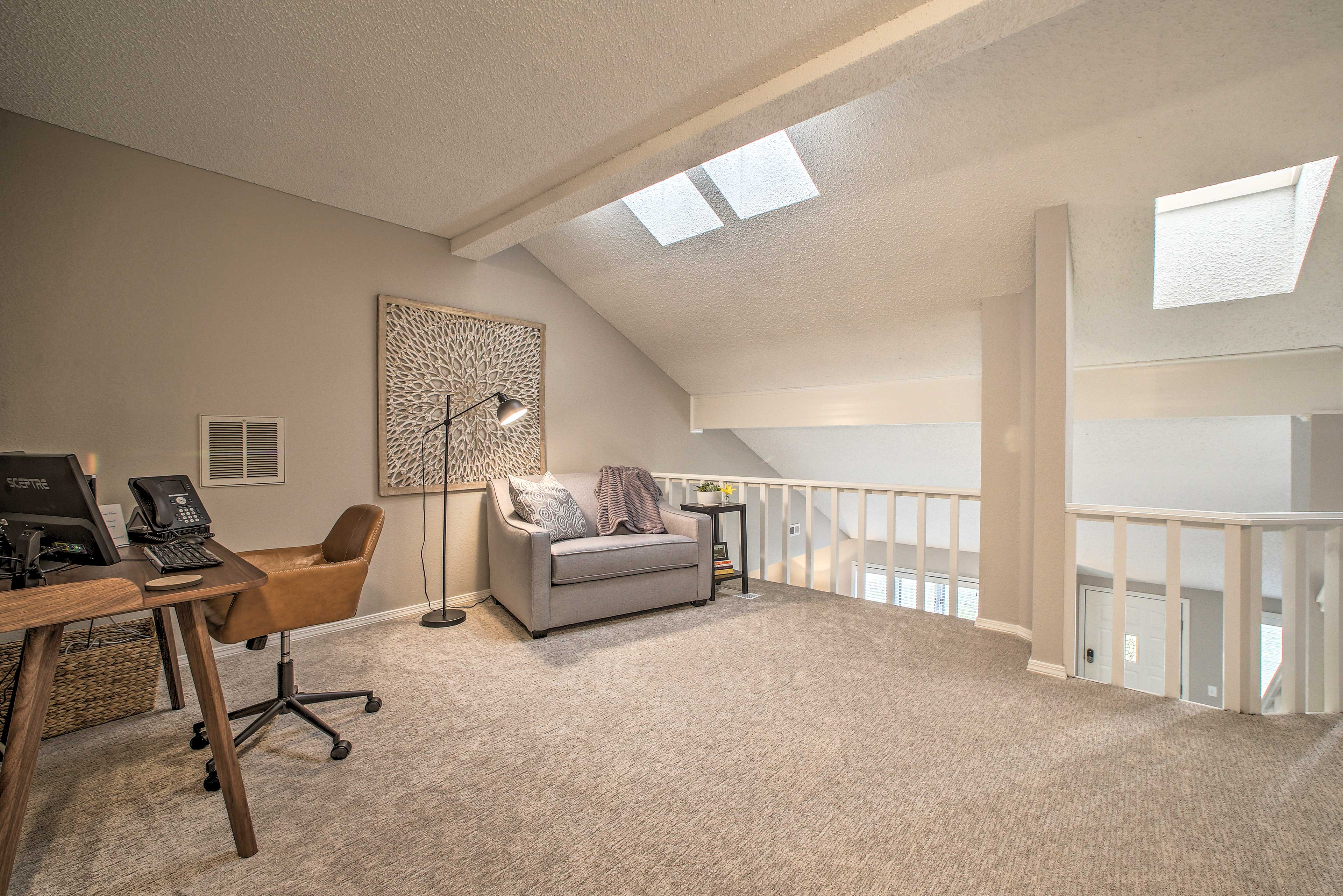 You'll find a cozy reading/working space upstairs in the loft.
