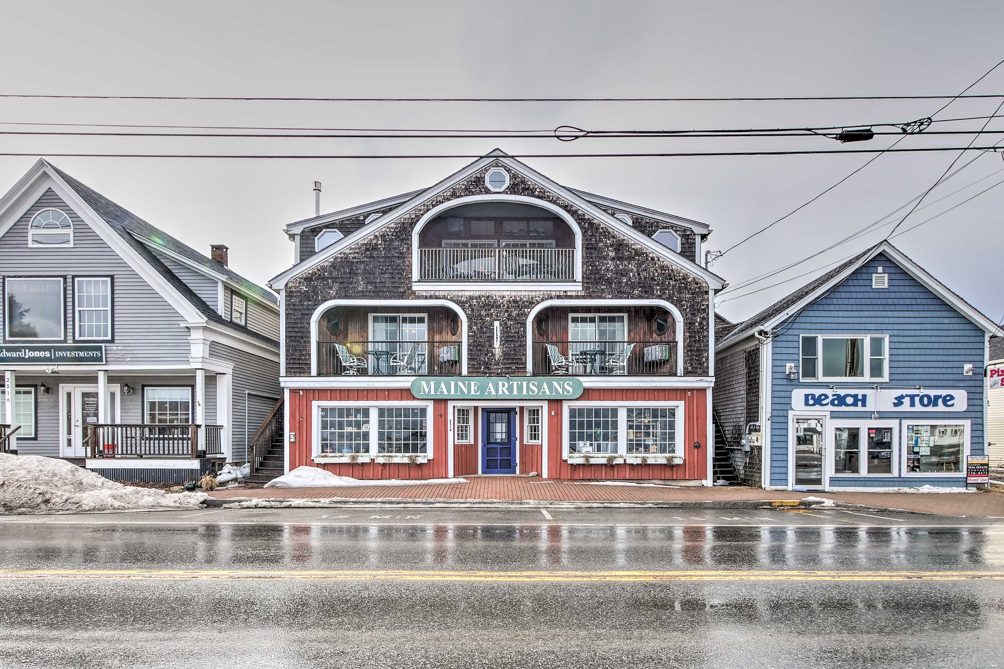 This vacation rental apartment sits above the charming Maine Artisans shop.